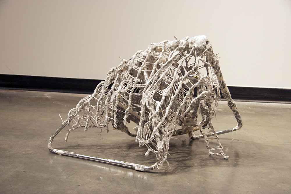 Adnt , 2013, steel, rope, plaster, ink