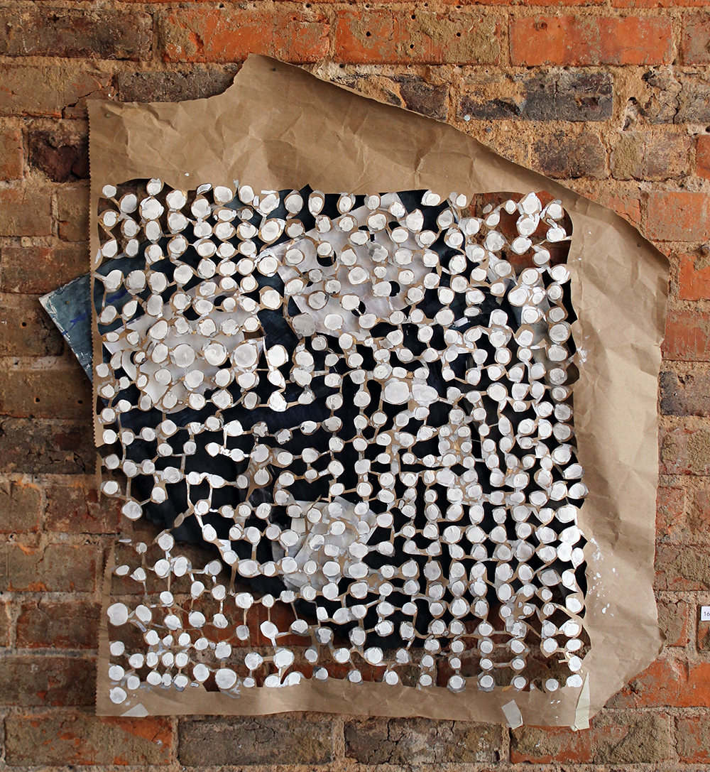 Backyard Shenanigans , Harriet Hoover, 2015,enamel, gouache, cotton thread, craft paper, and roofing paper
