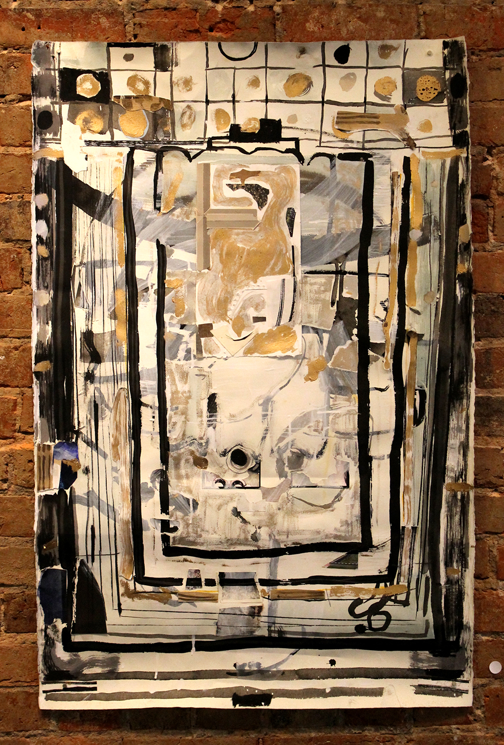 Goldie , Harriet Hoover,2015, enamel, ink, gouache, charcoal, and paper