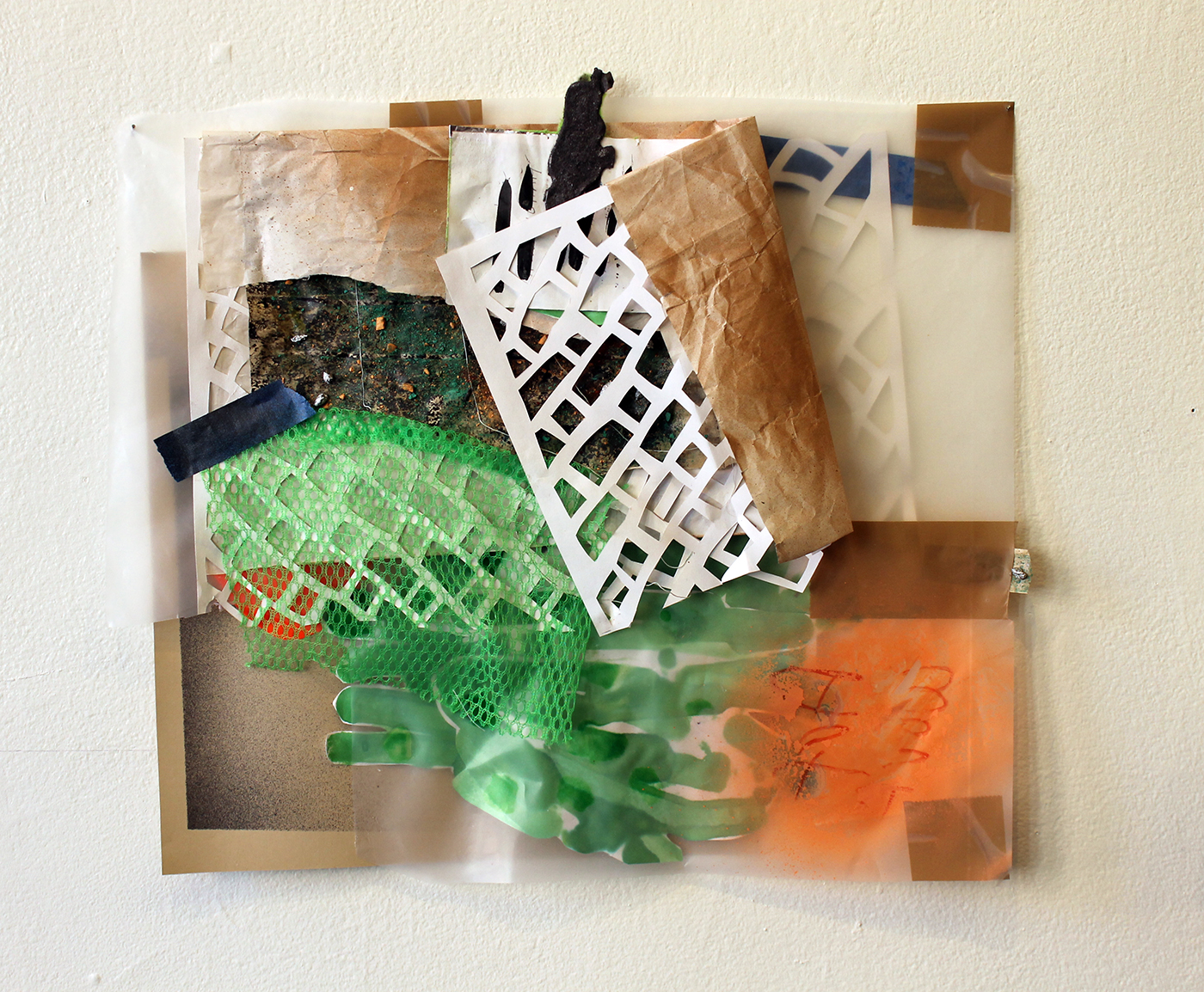 Go For Fences,  Harriet Hoover & Amy S. Hoppe, ink, acrylic spray paint, aluminum foil, plastic, and paper