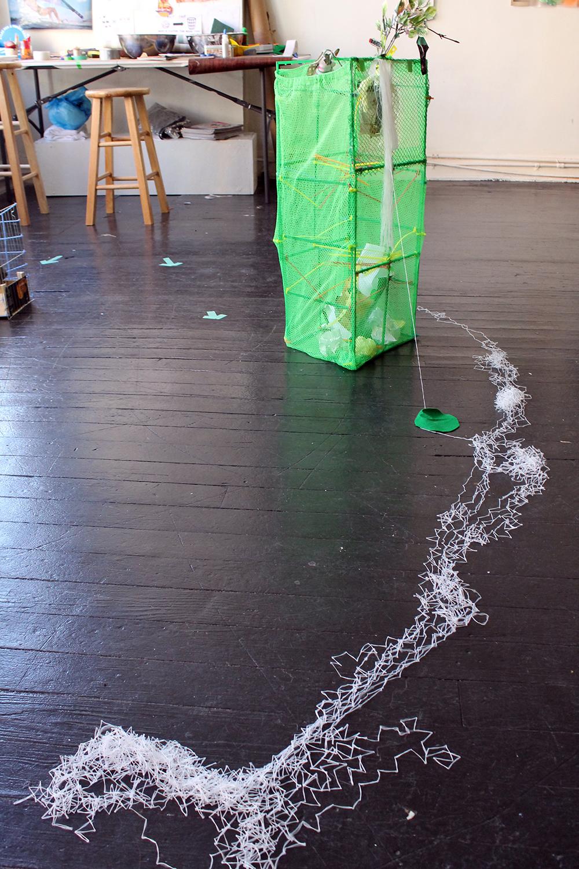 Best Shot , Harriet Hoover & Amy S. Hoppe, 2015, Interactive Installation  Installation shot, one of foursculptural goals