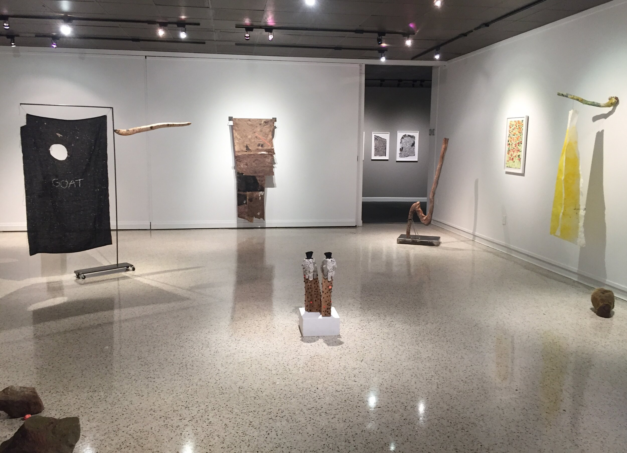 """""""Little Light: An An ti quarian's Unease""""  features sculptures, stitched drawings, and works on paper that explore the role objects have in our development of personal identity and complex relationships with history."""