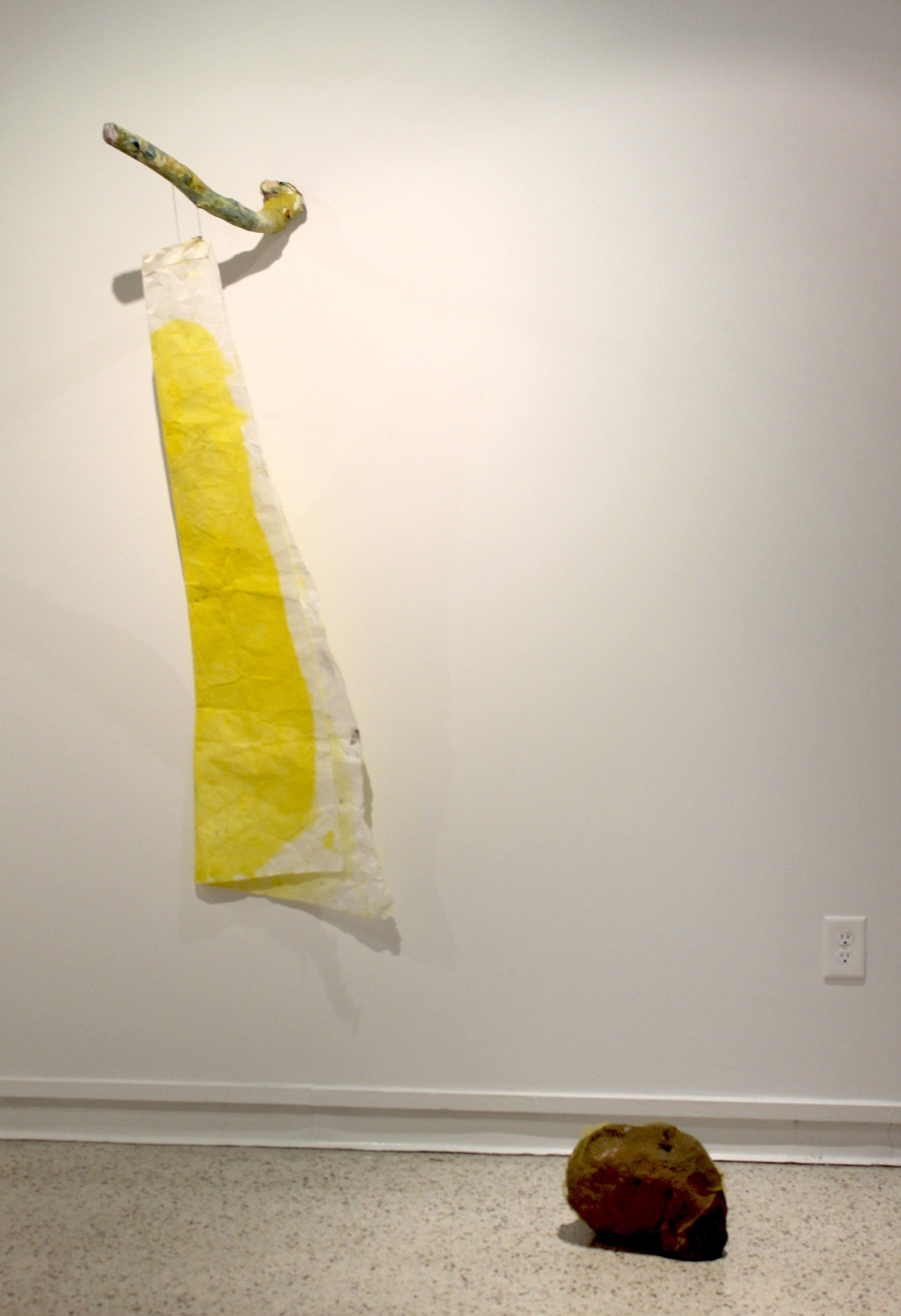 Ready for Foucagne   2018  wood, gouache, paper, cotton