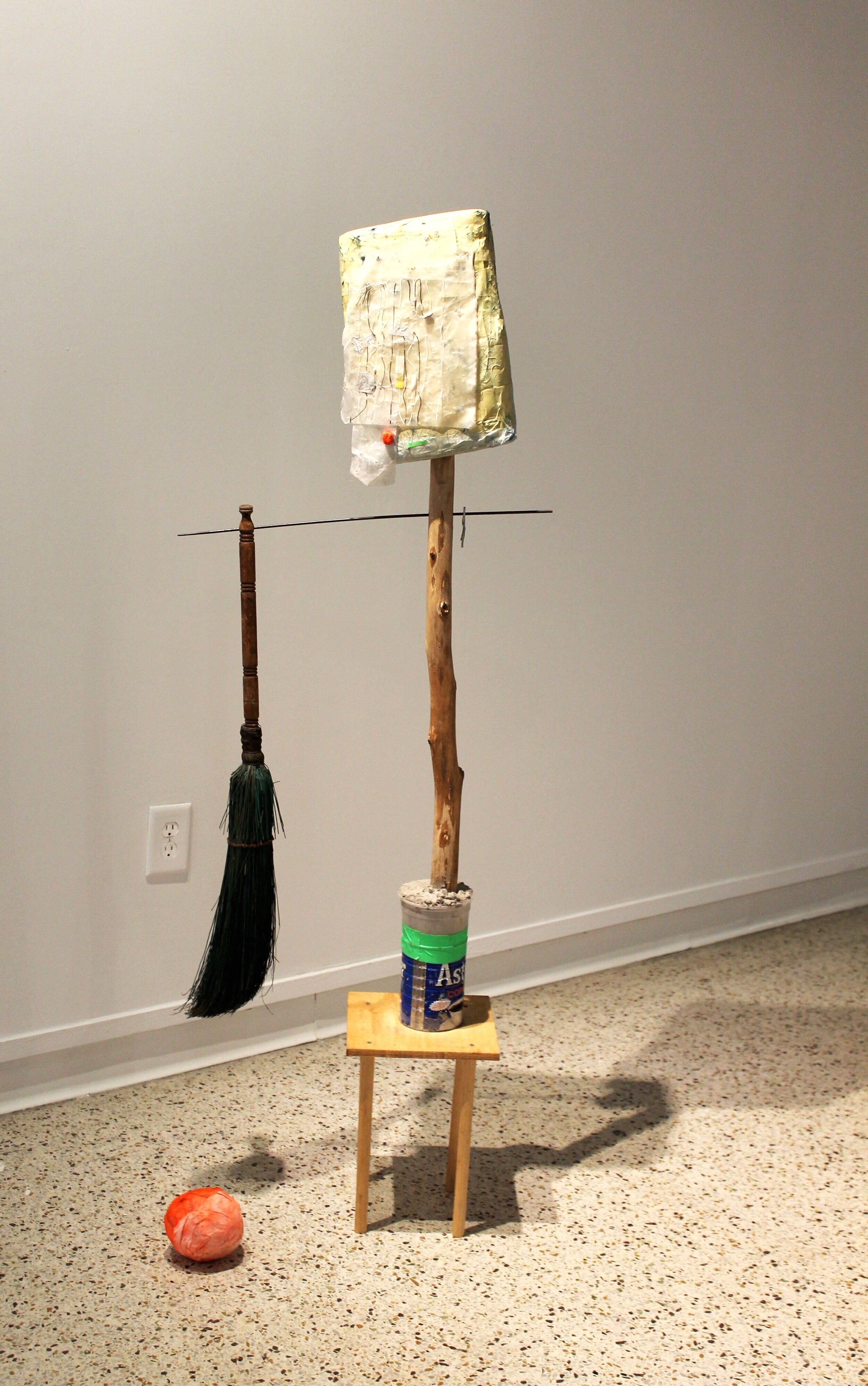 Maybe She's Born With It   2018  Paper mache, wood, stell, concrete, silk, paper, broom  Dimensions variable