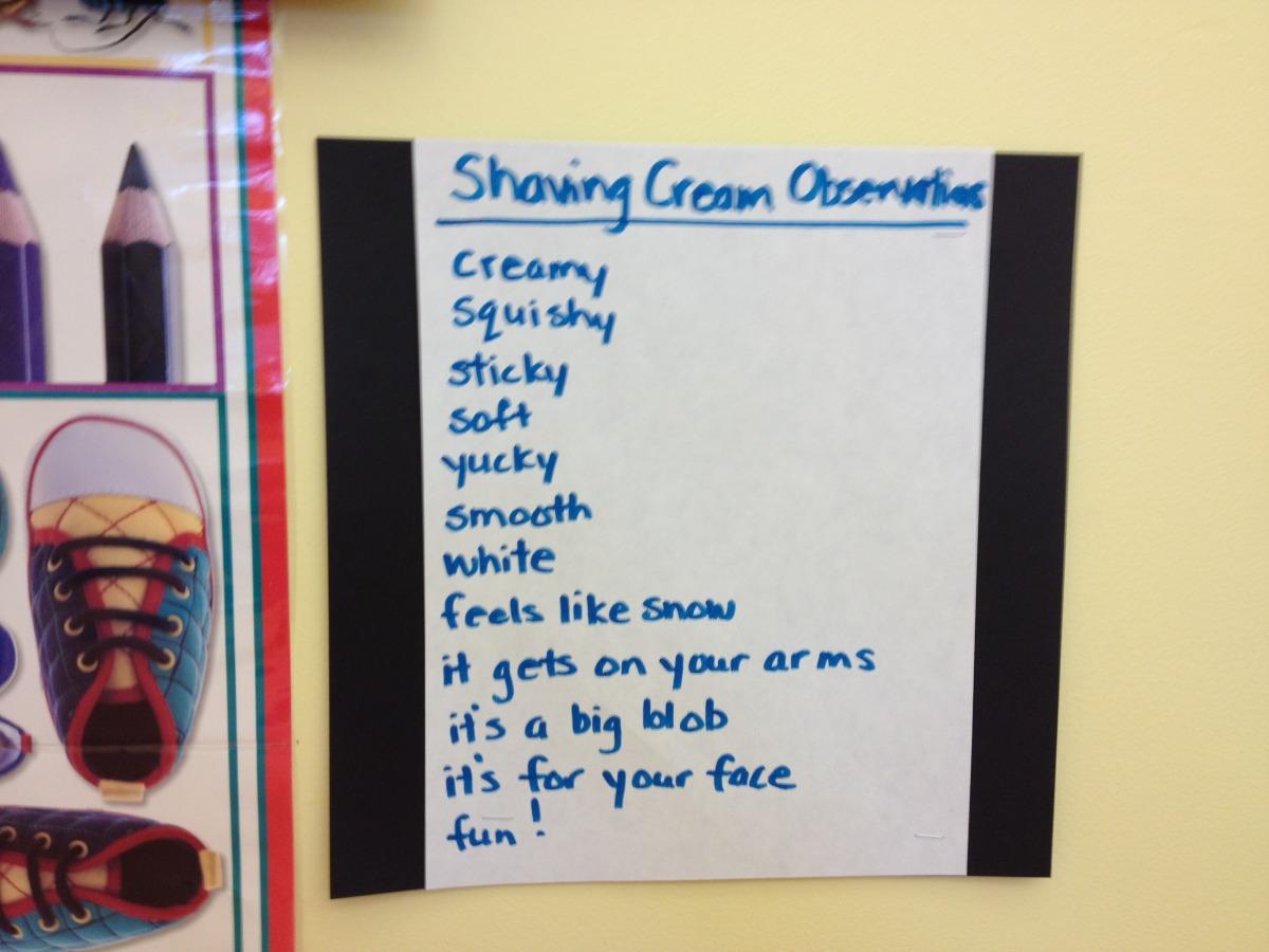 shaving cream observations