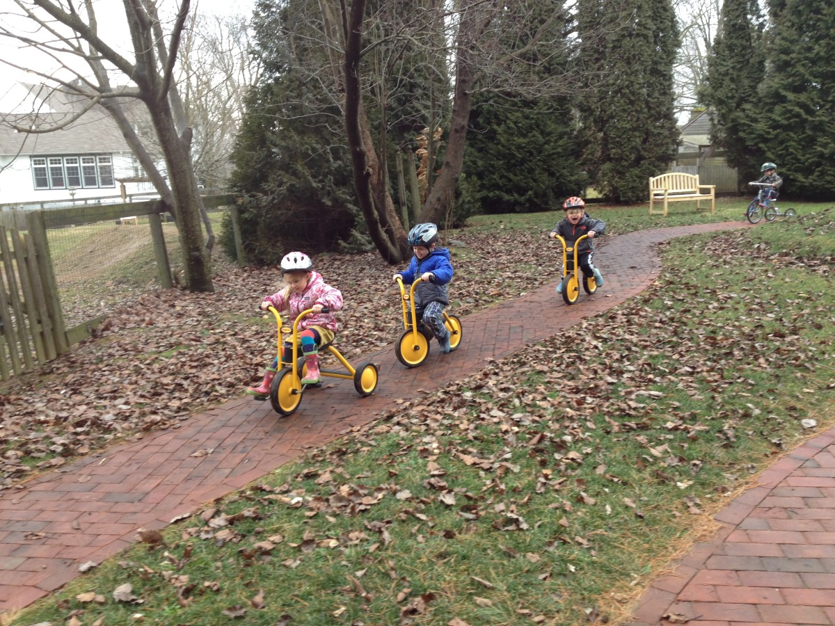 The children enjoyed riding on the bike trail on one of the warmer winter days.