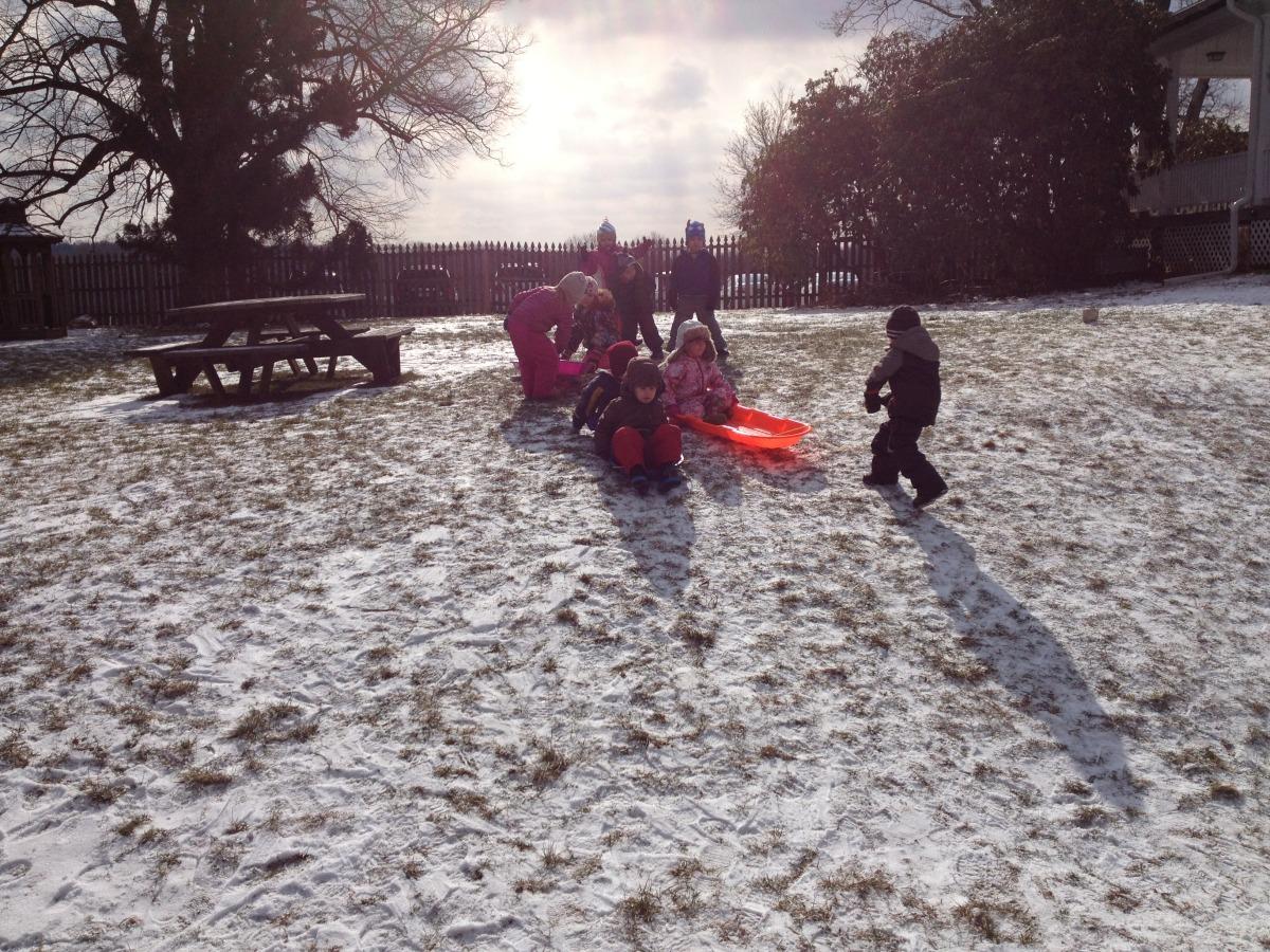 sledding in the Gazebo Yard