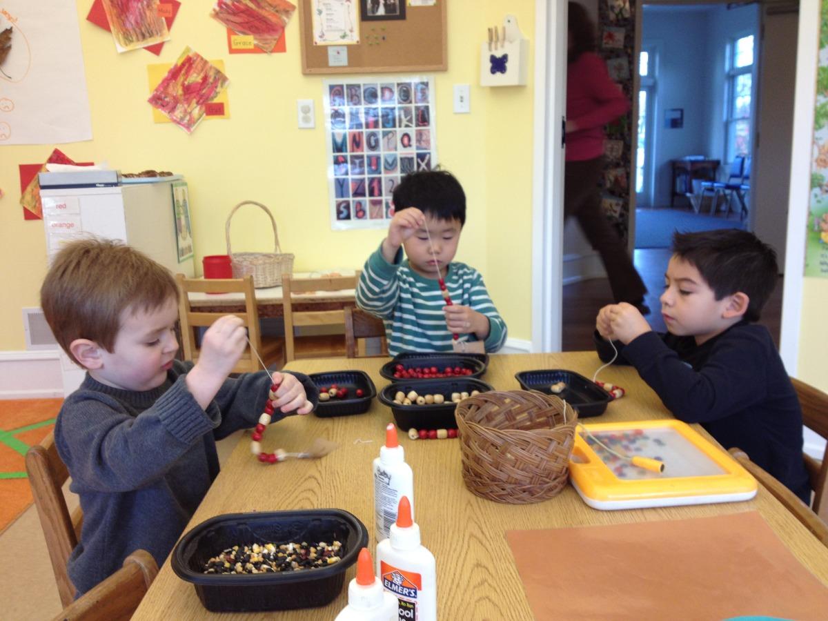 stringing Lenape medicine beads