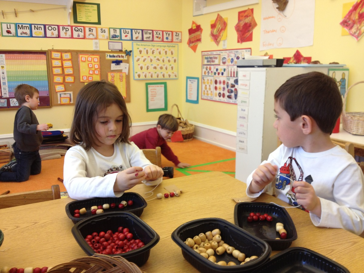 Stringing beads is great patterning and fine motor practice.