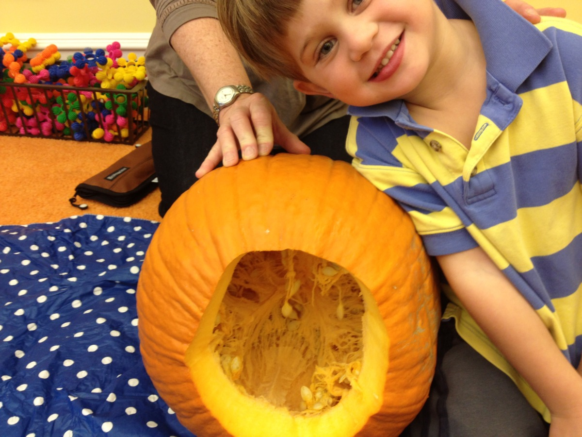 Gus thought the inside of the pumpkin looked like it had lungs.