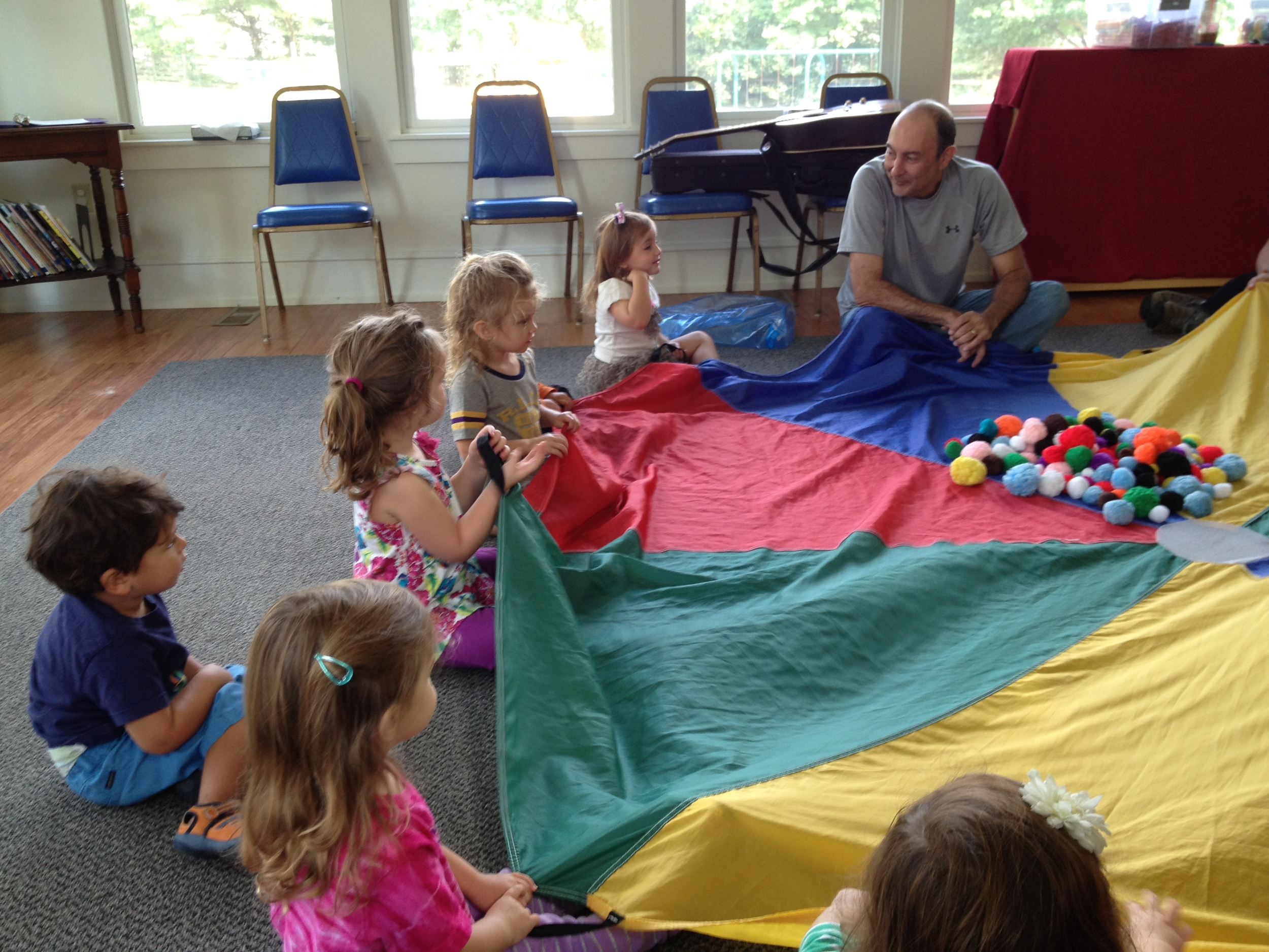 Parachute time during Music class with Bill