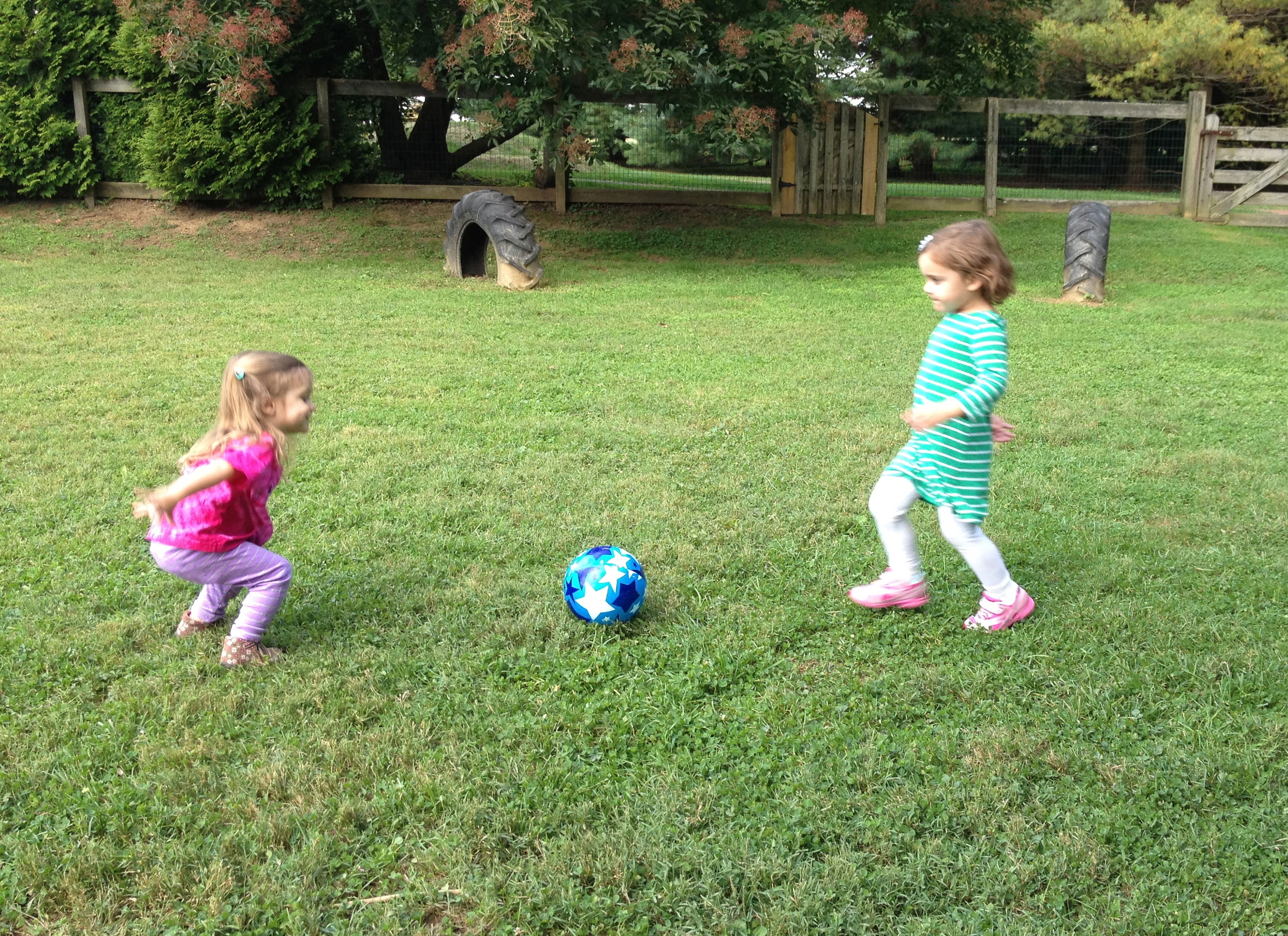 Kicking the ball back and forth