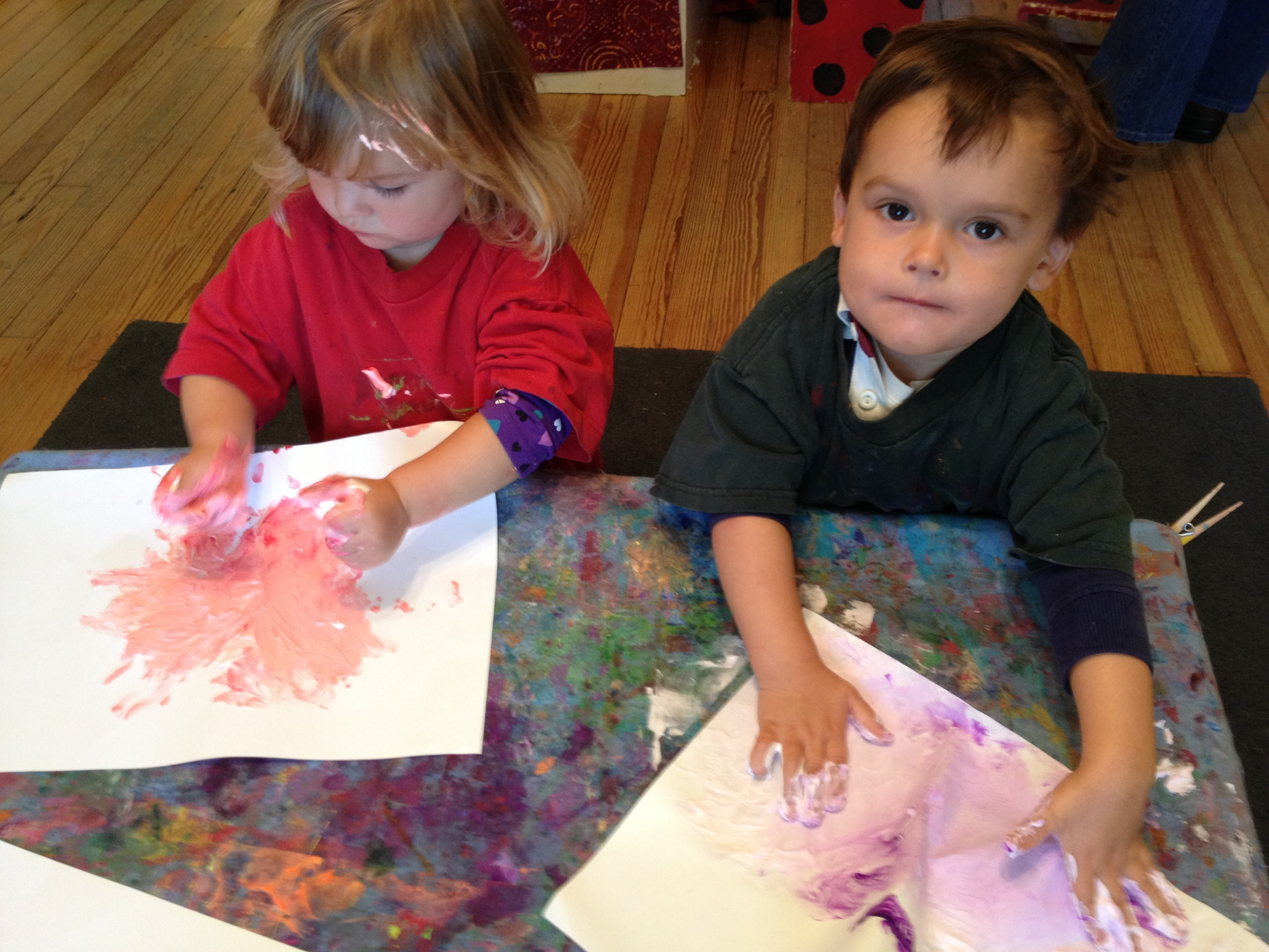 Finger painting with shaving cream!