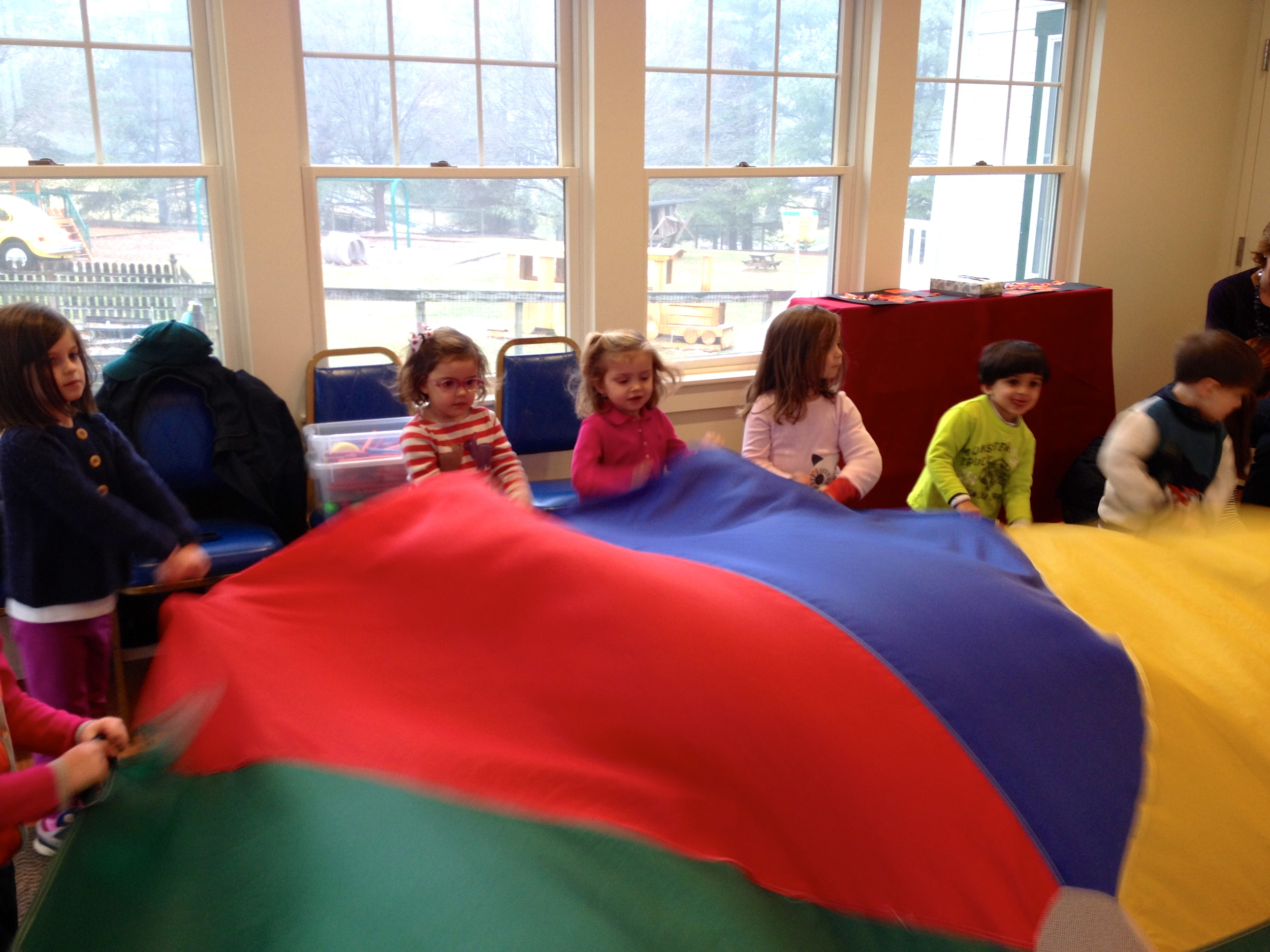 parachute fun during music with Bill