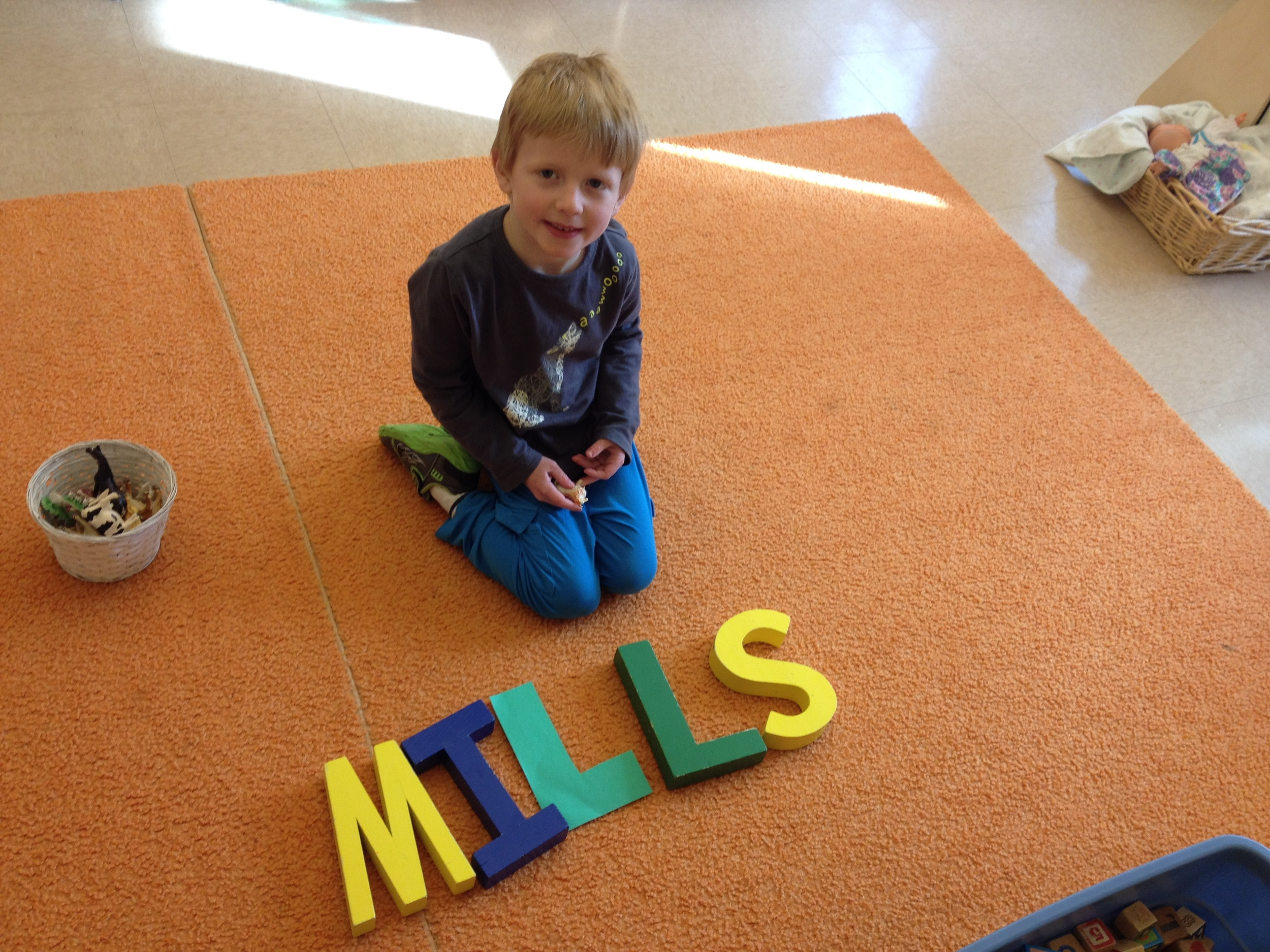 using the huge wooden letters