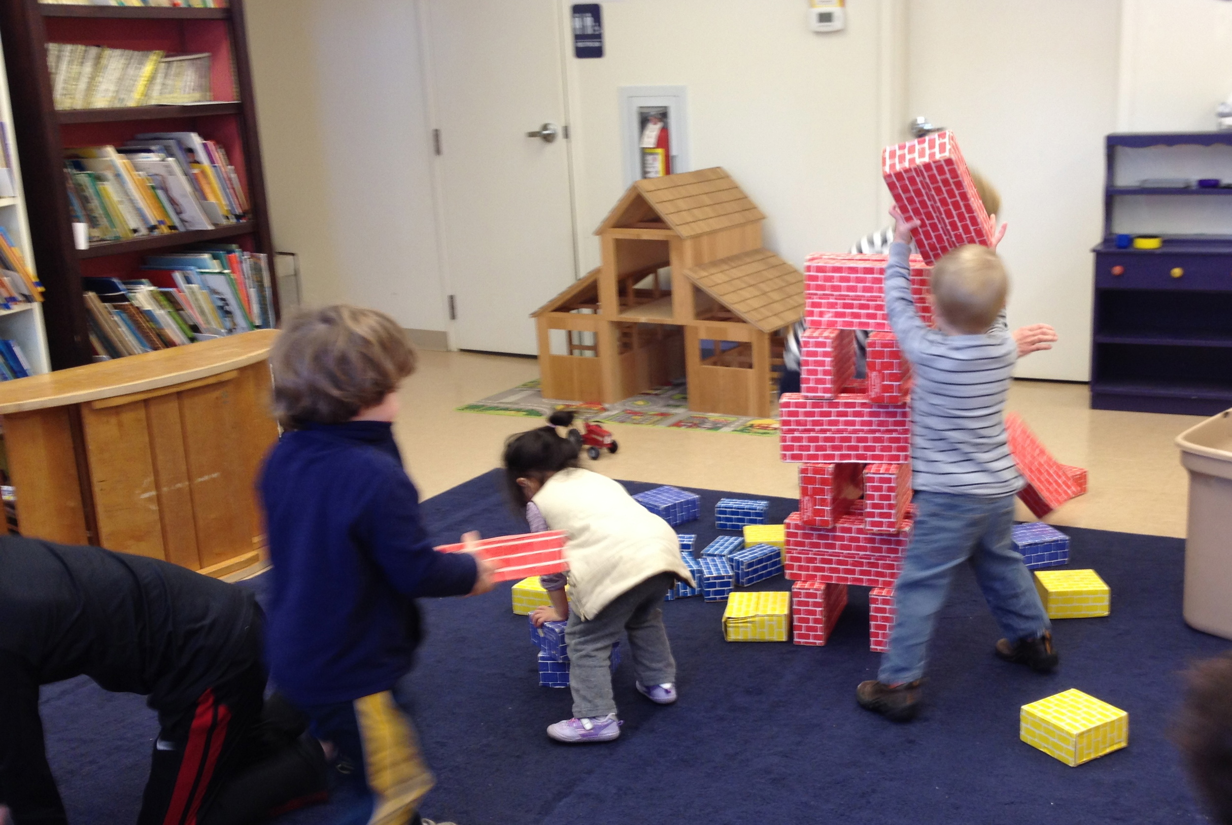 building with cardboard blocks