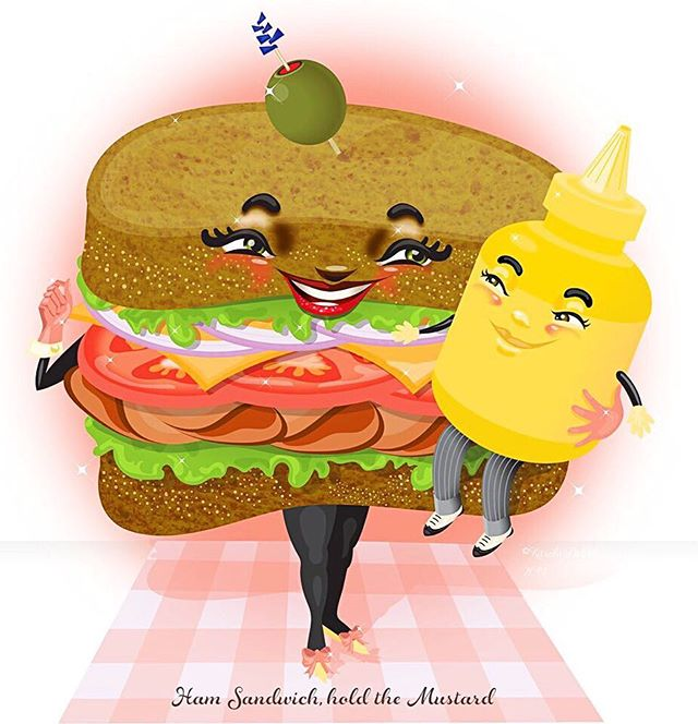"""Ham Sandwich, hold the Mustard"" ©Kelly Jackson, Kitschy Delish, 2019 Do you like mustard? Or do you ask them to hold it?"