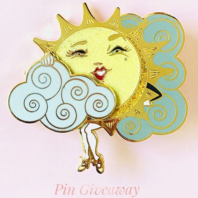 "IG Giveaway!  It's pin Giveaway time!  Winner receives my newest ""Sun Teaser"" sliding hard enamel glitter pin!  To enter:  1)give this image a 'Like'  2)in the comments, tell me: do you prefer a slightly cooler summer 70's or do you like things hot? Above 90?  Winner will be chosen by random app picker Wednesday evening! Stay tuned to this post for the winner update.  Good luck 🍒 XO! Kelly  This promotion is in no way sponsored, endorsed or administered by, or associated with Instagram."