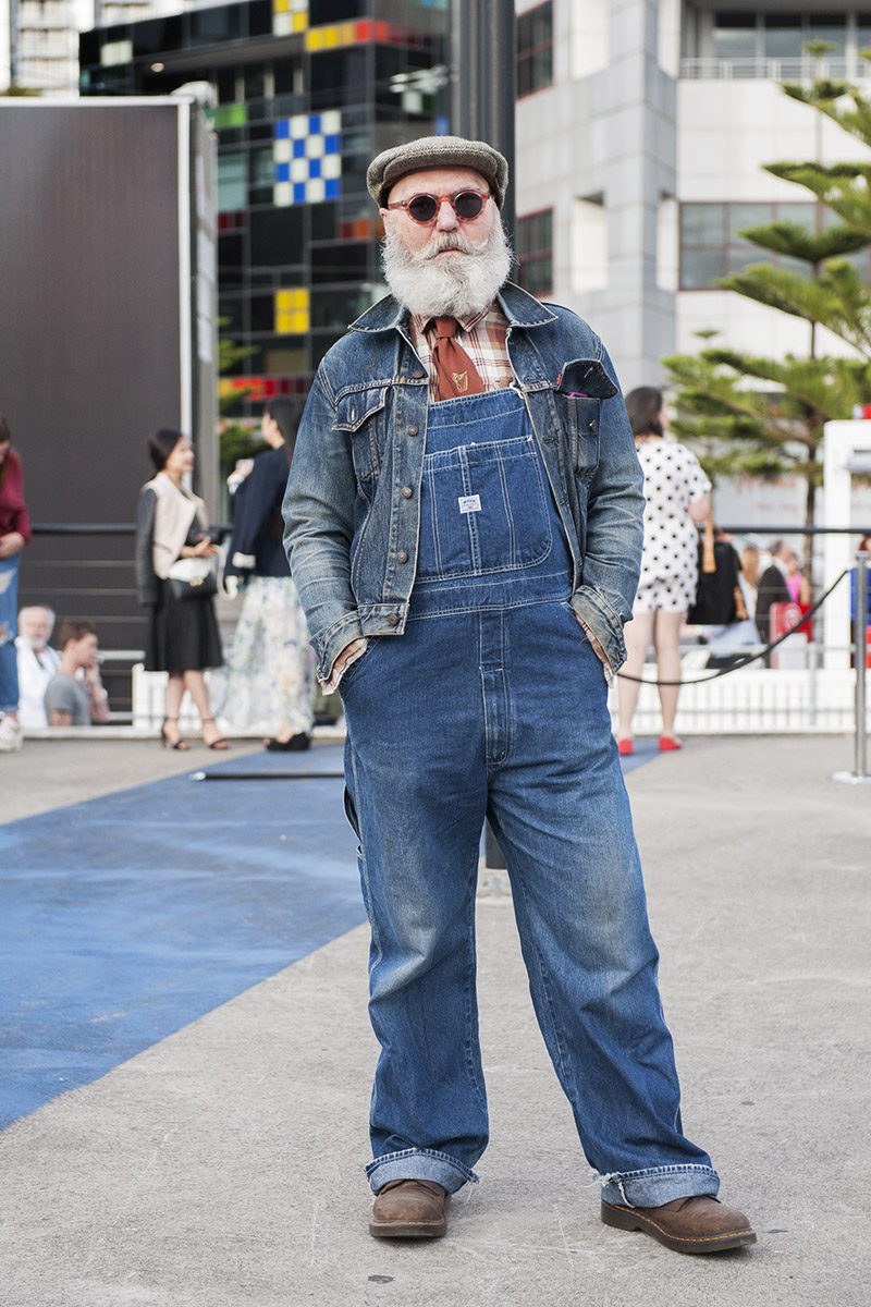 RMIT fashion designer teacher Dr Peter Allan in Japanese demin label 'Big John overalls & Levis jacket.