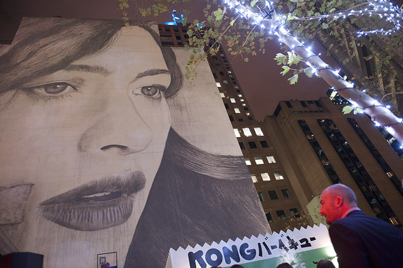 The 35 metre high artwork by renowned local street artist Rone at 80 Collins Street
