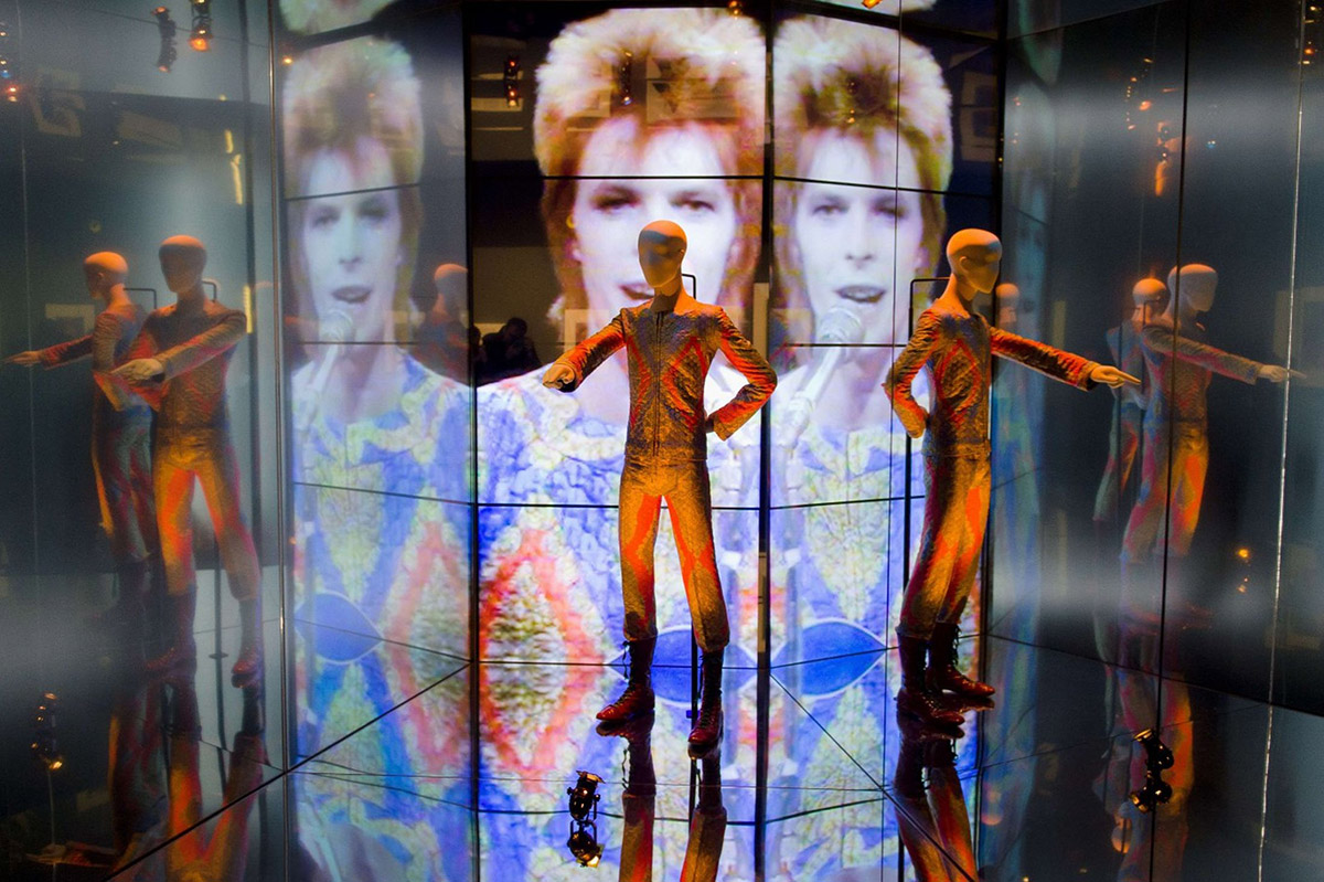The 'Starman' costume from David Bowie's appearance on 'Top of the Pops' in 1972 on display at the V&A Museum in London where the 'David Bowie Is' exhibition was originally curated.