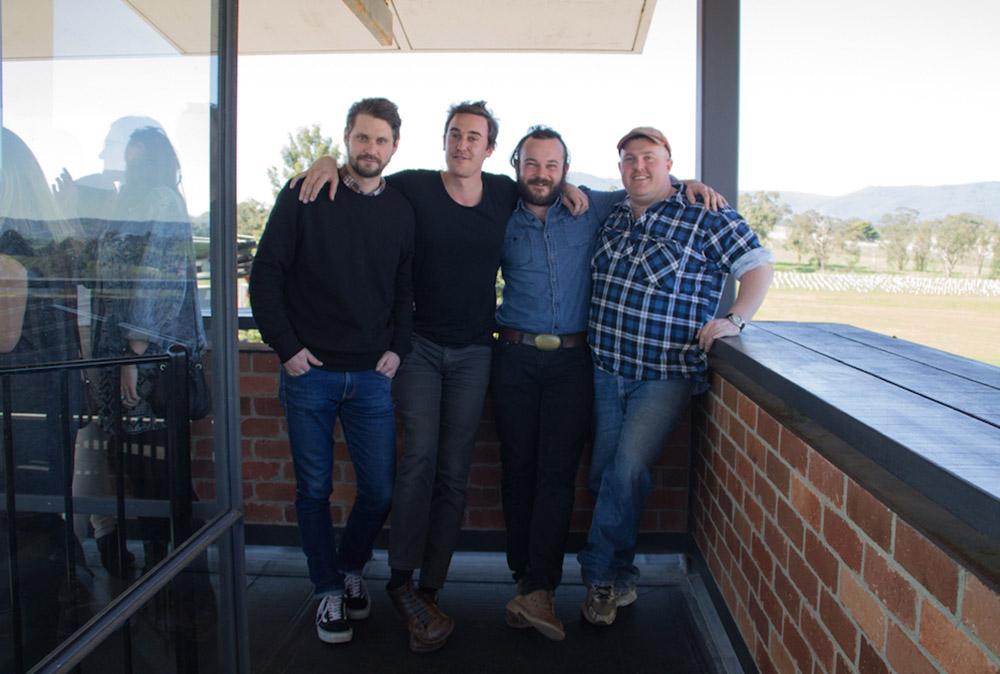 (L-R) 2nd assistant camera Jensen Cope, Director Kasimir Burgess, lead actor Daniel Henshall & inside man Brett Robin