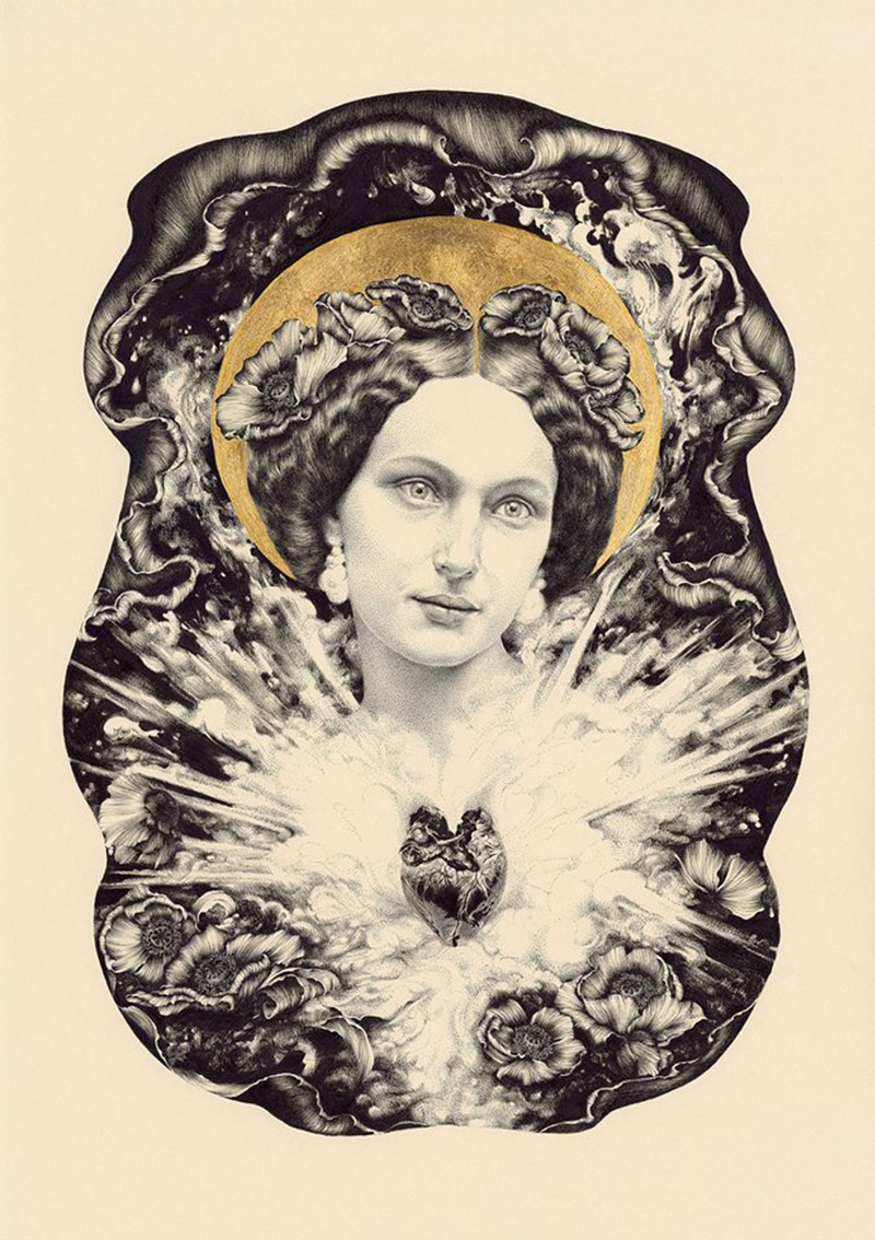 Immaculate Heart 2014 -  Ink and metal leaf on cotton paper   by Lucy Hardie