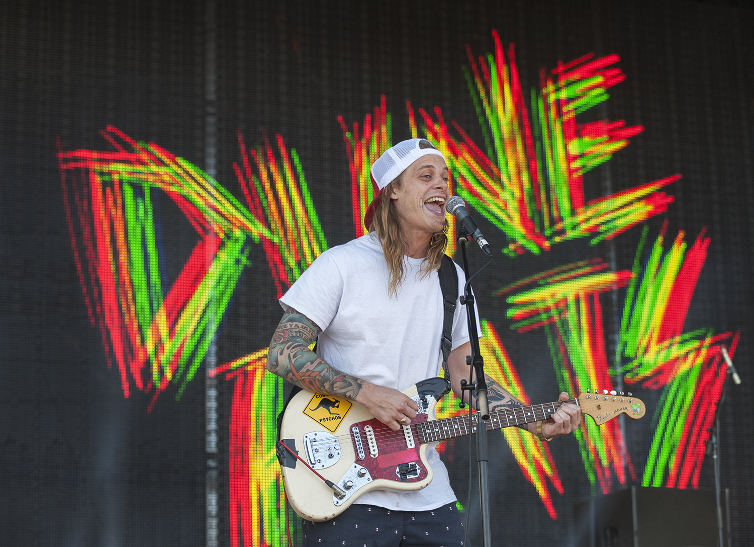 Danny Beusar, singer and guitarist for Brisbane based Dune Rats rocks out on day two of the 2015 Falls Festival - image courtesy of Kirsty Umback.