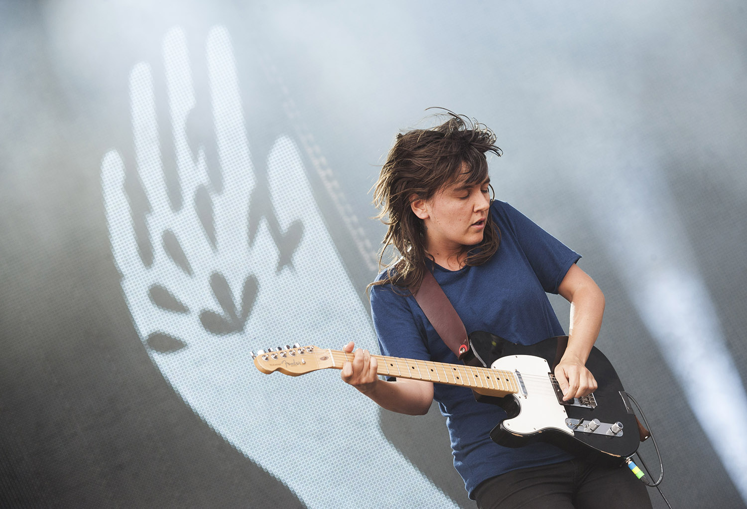 Grammy nominated Courtney Barnett gives it her all on night three of the 2015 Falls Festival - image courtesy of Kirsty Umback.