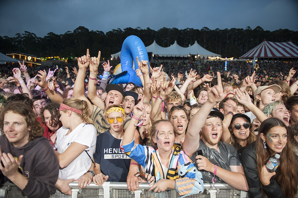 Fans gather to watch Dune Rats perform at the 25th annual Falls Music and Arts Festival in Lorne. Image: Kirsty Umback