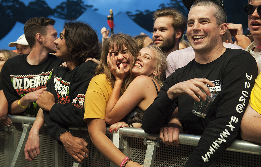 Fans attend the 25th annual Falls Music and Arts Festival in Lorne. Image: Kirsty Umback.