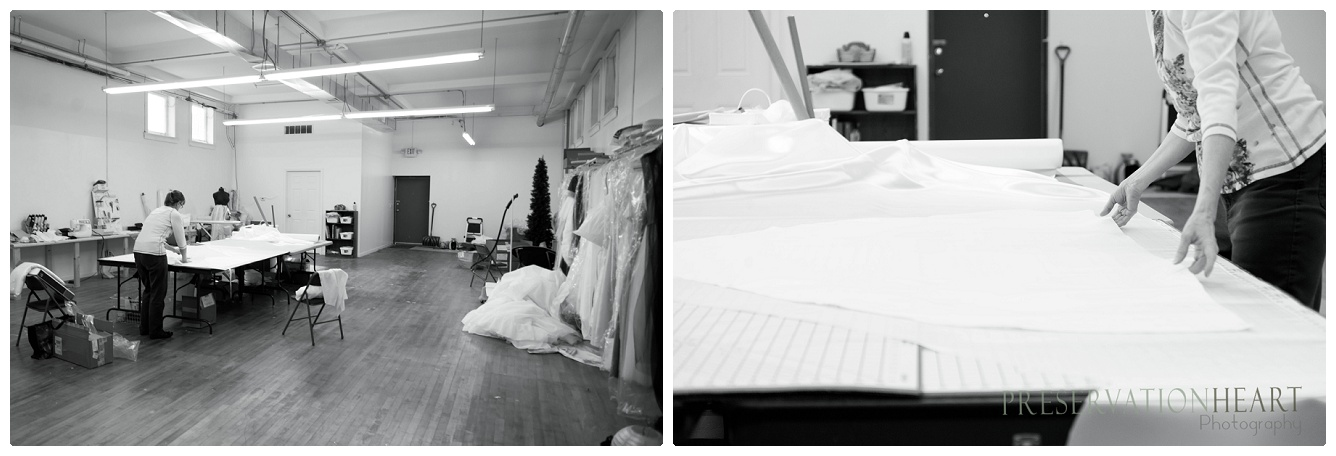 The vast design space is Dawn's creative studio. Here she designs bridal gowns by hand