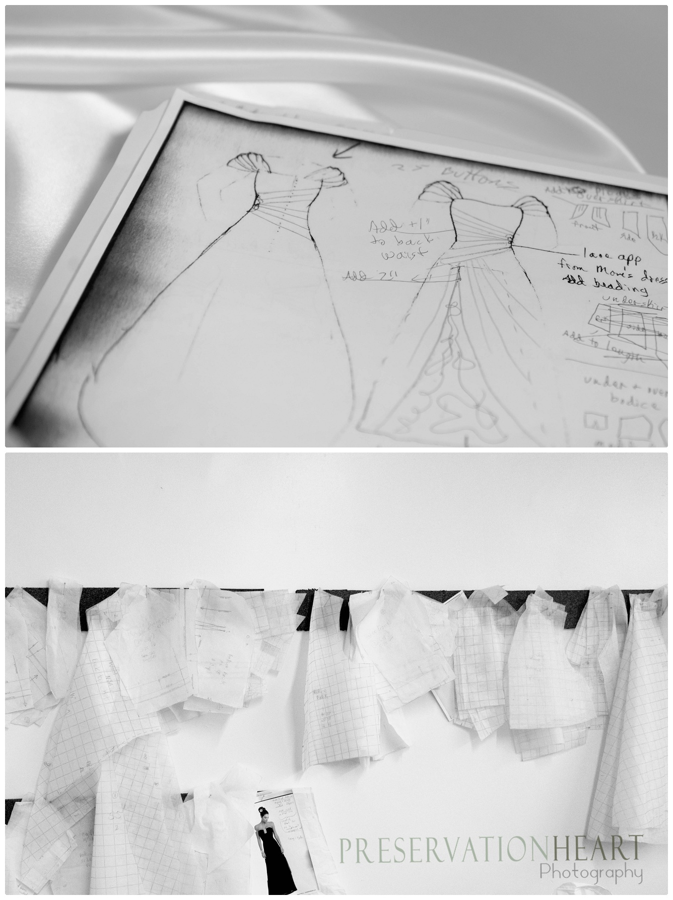 Hand sketched designs and patterns decorate the studio space