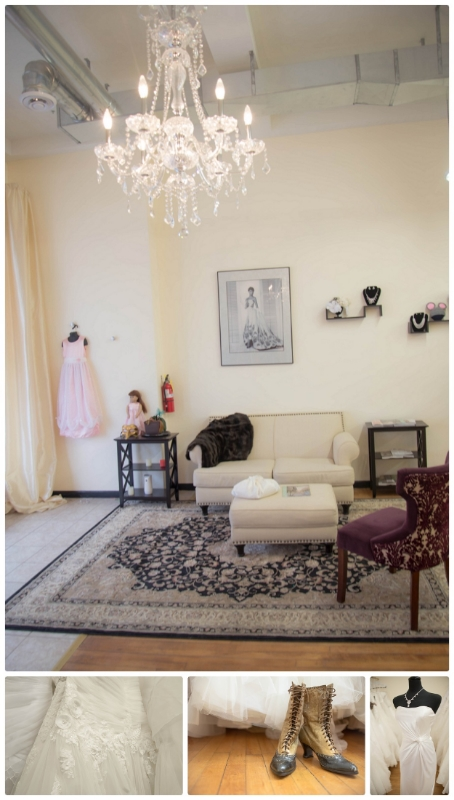 Spacious and beautiful conversation area is surrounded by unique gowns and even a few vintage finds