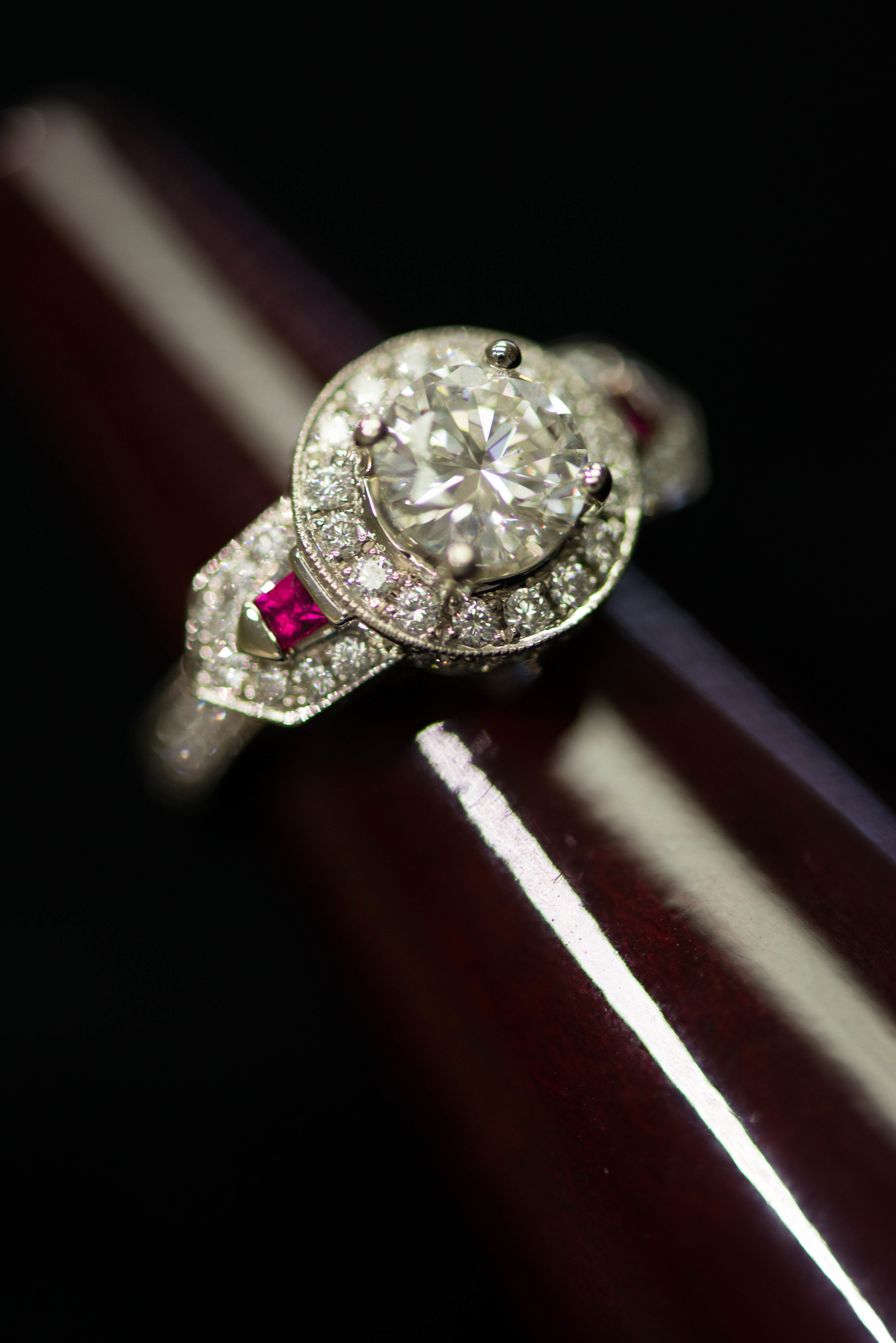 Colorful engagement ring has a vintage appeal with a modern twist