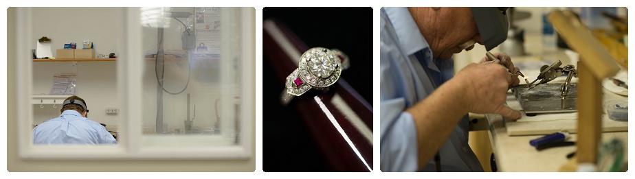 Jeweler Bill solders a wedding set