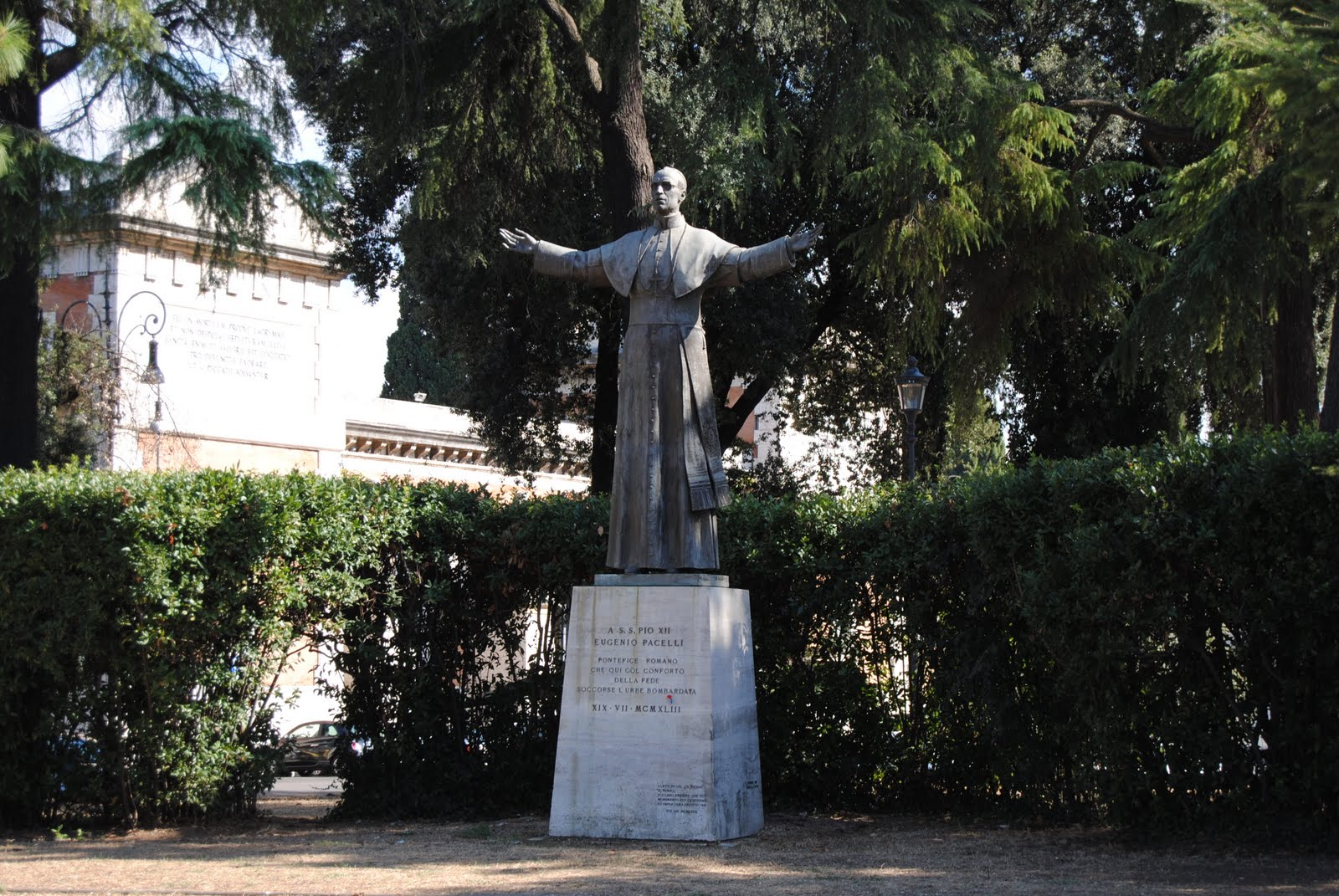 The statue of Pope Pius XII in front of the Basilica San Lorenzo fuori le mura, next to Campo Verano
