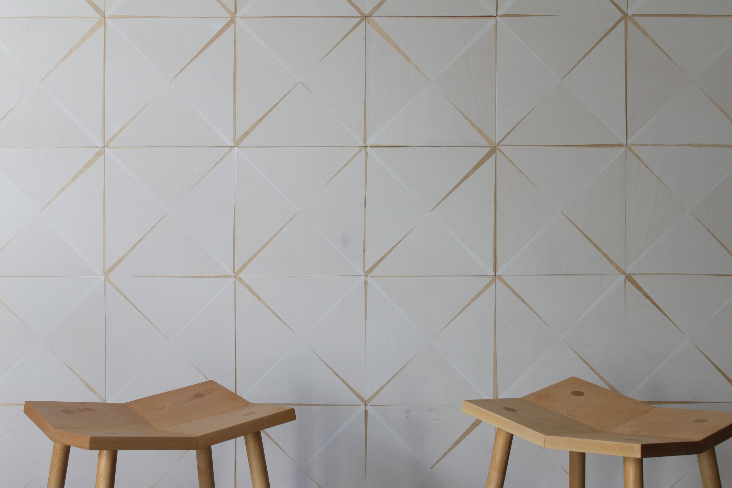 """PITCH   AN ODE TO IMPERFECTION, PITCH TILES CREATE AN ORIGAMI EFFECT  THE GEOMETRY OF TRADITIONAL TILES WITH THE WARMTH OF WOOD  EACH MODULE MEASURES 12""""x12"""", 3/8"""" THICK  THE DESIGN CAN BE COLOR CUSTOMIZED  MINIMUM ORDER IS 32 SF  LEAD TIME IS 2-4 WEEKS  INTENDED FOR VERTICAL INDOOR USE IN NON WET AREAS  MADE WITH FSC CERTIFIED, FORMALDEHYDE FREE PLYWOOD FROM THE PACIFIC NORTHWEST (NEW GROWTH)  NO VOC WATER BASED FINISHES  CAN CONTRIBUTE TO USGBC LEED CREDITS INCLUDING CERTIFIED WOOD AND LOW-EMITTING MATERIALS  FIRE RATING: CLASS C  $15-20/SF - PRICING VARIES BASED ON ORDER VOLUME AND CUSTOMIZATION SELECTIONS  CONTACT INFO@MOONISHCO.COM FOR MORE INFORMATION"""