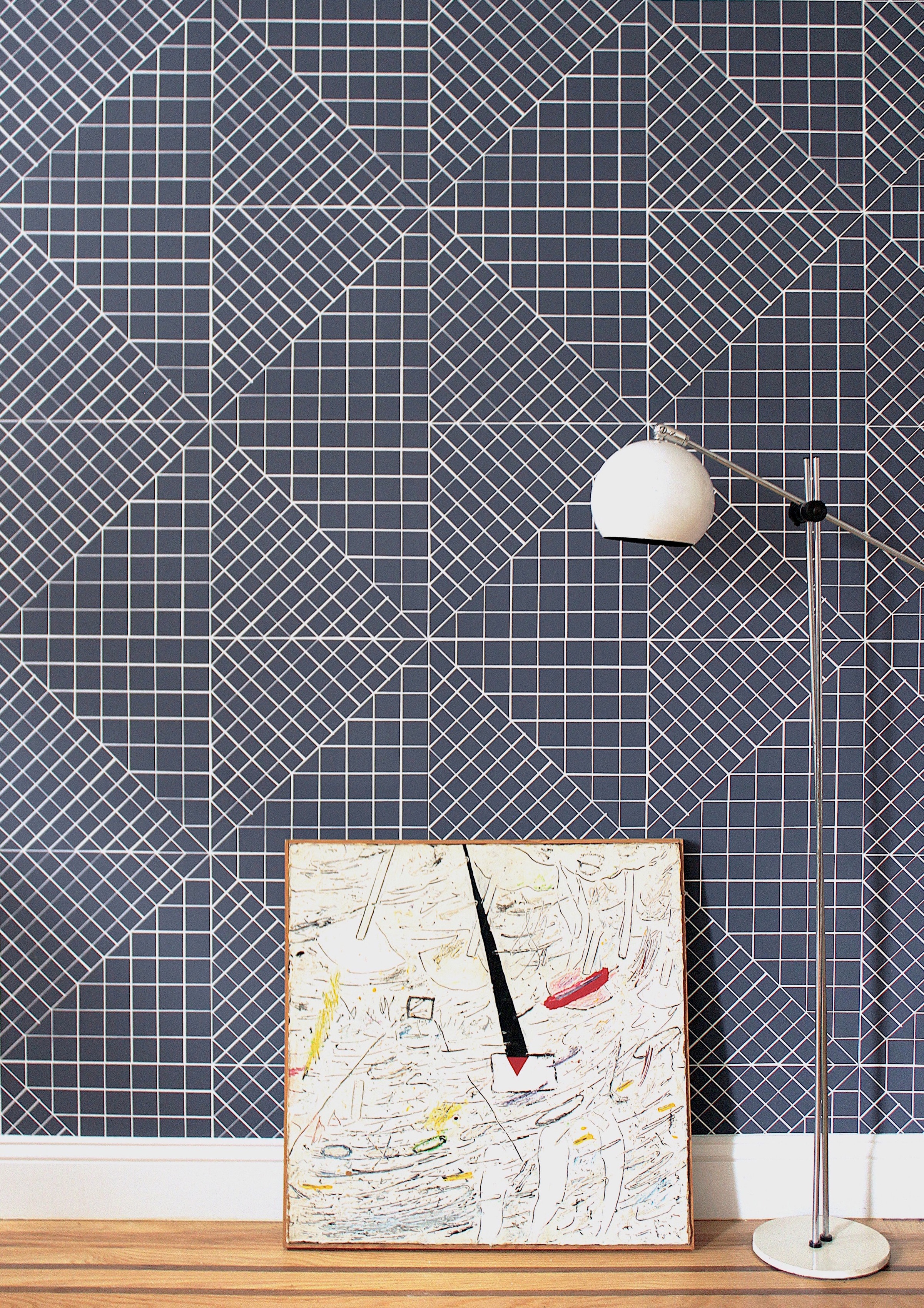 """GRAPH   EVOCATIVE OF BLUEPRINTS, GRAPH'S GRIDLINES CREATE A DELICATE TEXTURE  AVAILABLE IN DENIM OR NAVY BLUE  HAND SCREEN PRINTED IN NY  ROLL MEASURES 27""""x15', UNTRIMMED AND UNPASTED  CLASS A FIRE RATED  LEAD TIME 3-4 WEEKS  $165/ROLL"""