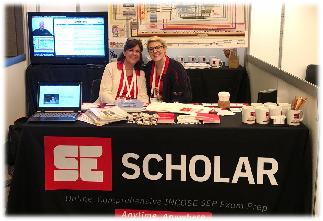 The SE Scholar Team manning the booth at INCOSE IS2018 - Washington, DC