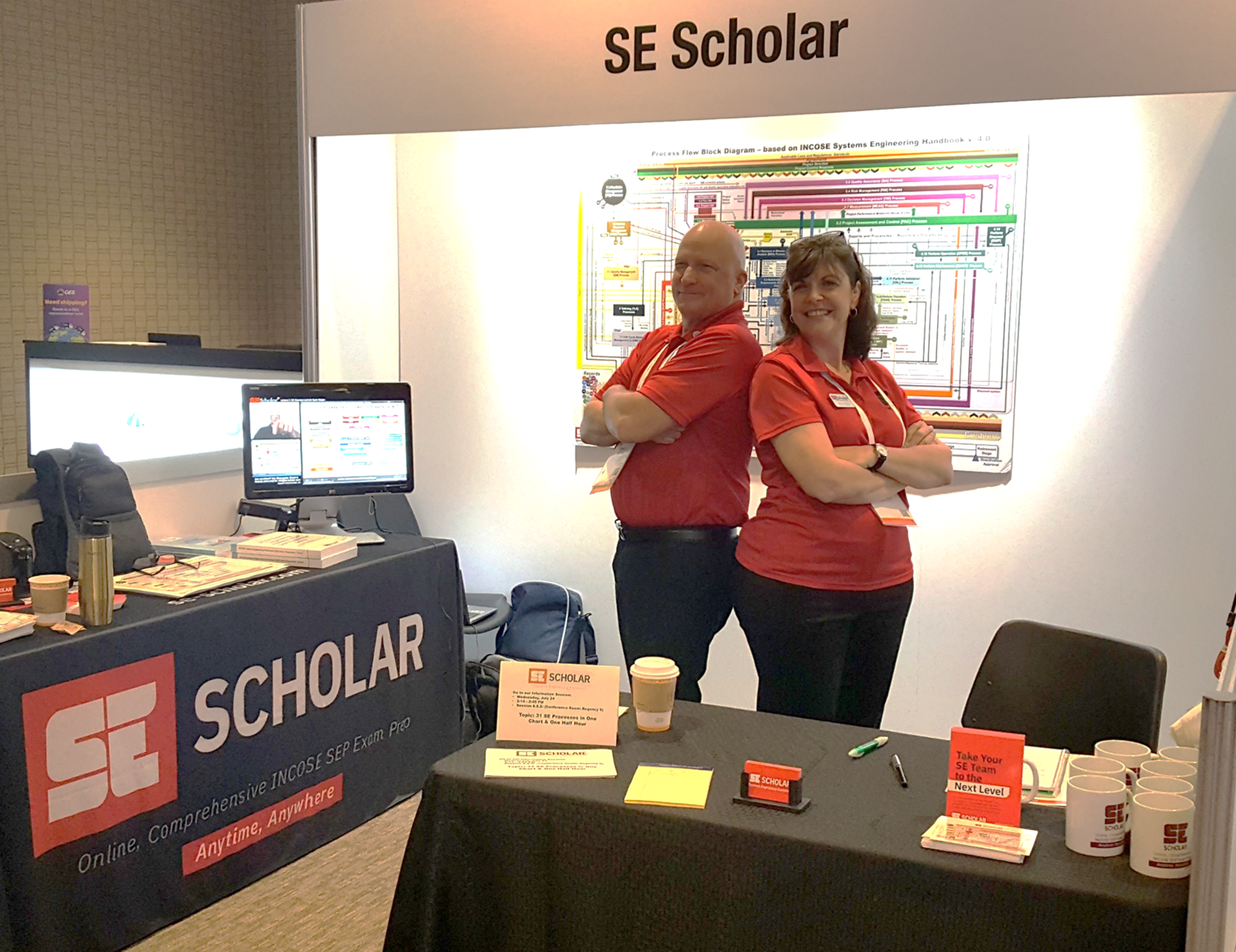 The SE Scholar Team manning the booth at INCOSE IS2019 - Orlando, FL