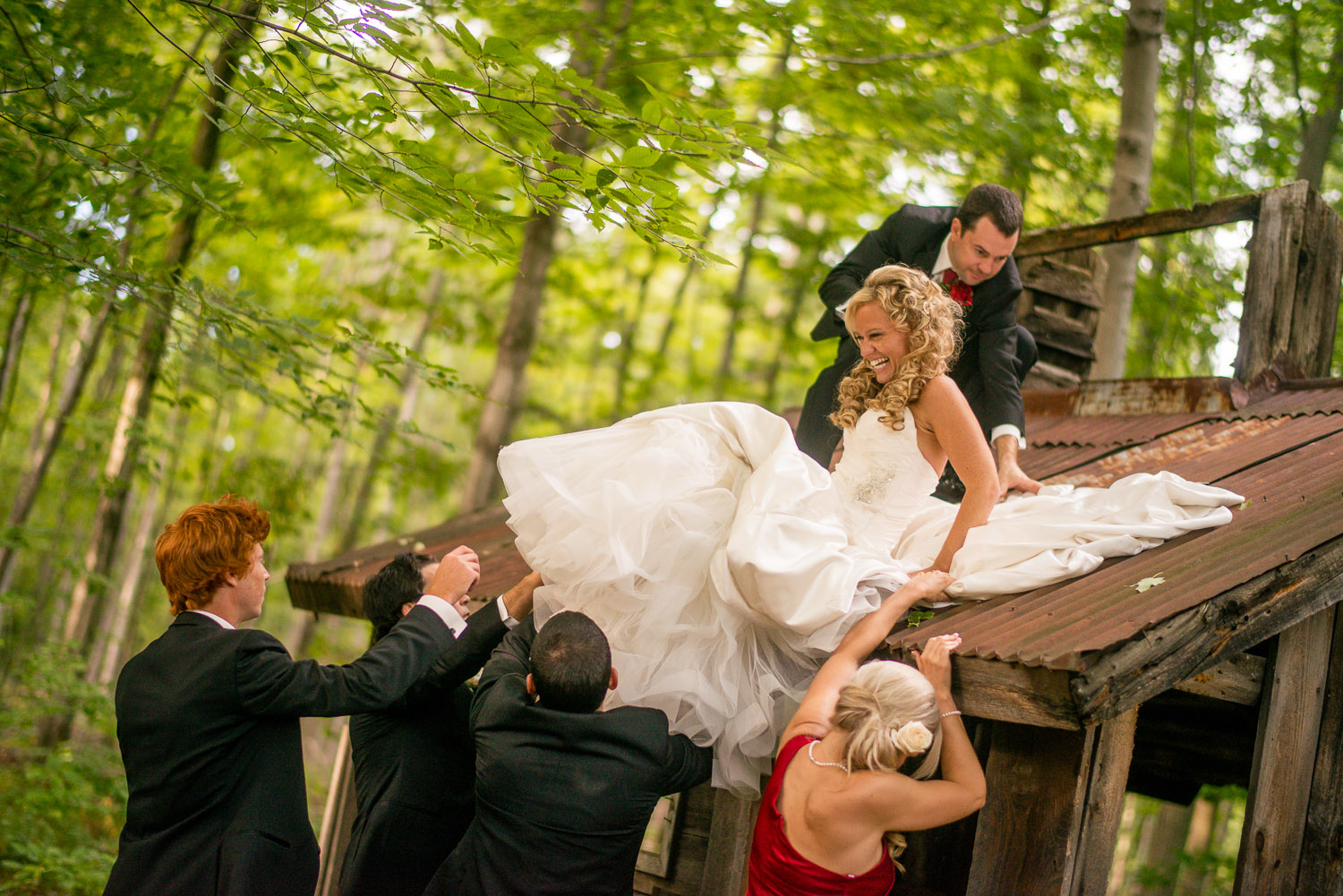 Have a schedule, but don't forget to be spontaneous - like hopping up on a rickety old rusty sugar shack. It's true what they say, you can't catch tetanus on your wedding day.