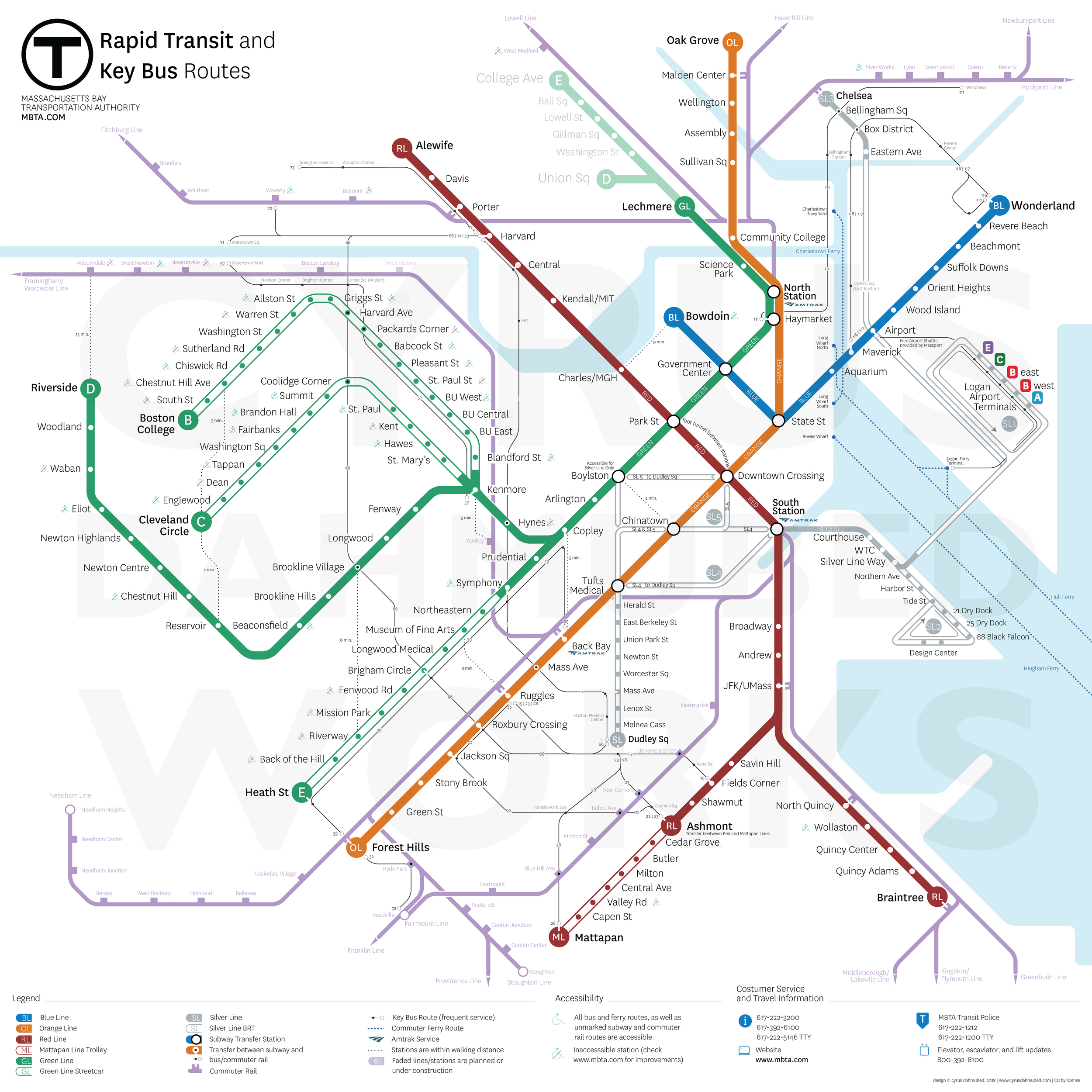 This map of the existing MBTA system includes a simplified geography, clearer bus routes, more Commuter Rail stops, walking connections between stations, enhanced georealism, and clear designation of Bus Rapid Transit (BRT) and trolley routes that do not have a designated right-of-way.