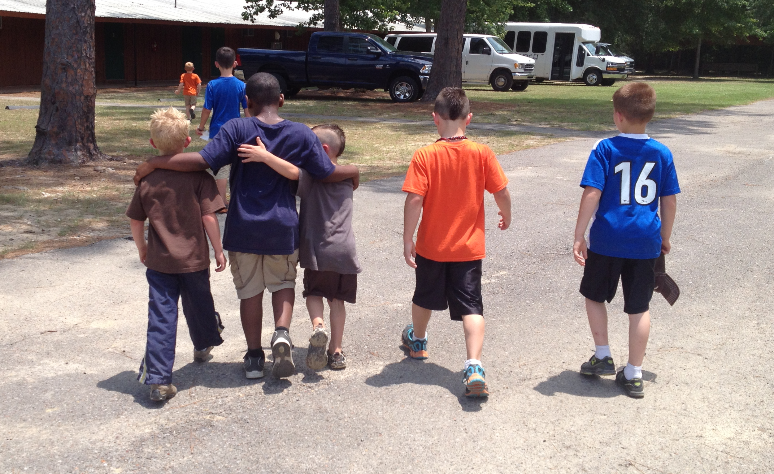 Five friends at Summer Camp.