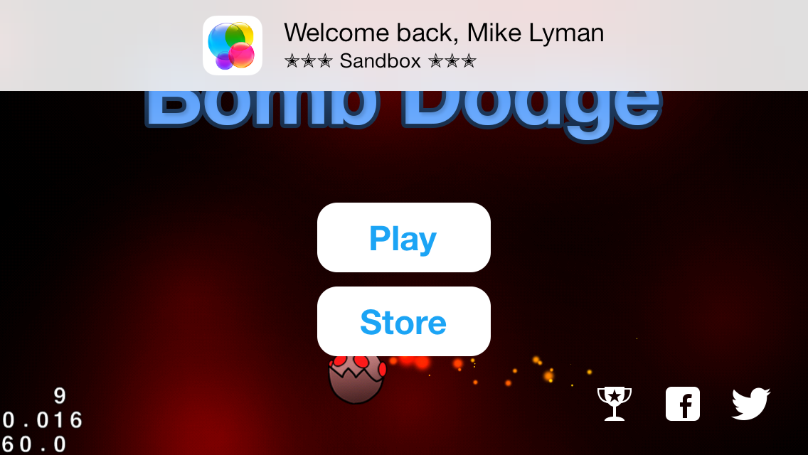 Your app will display a welcome message when starting with Game Center authenticated.