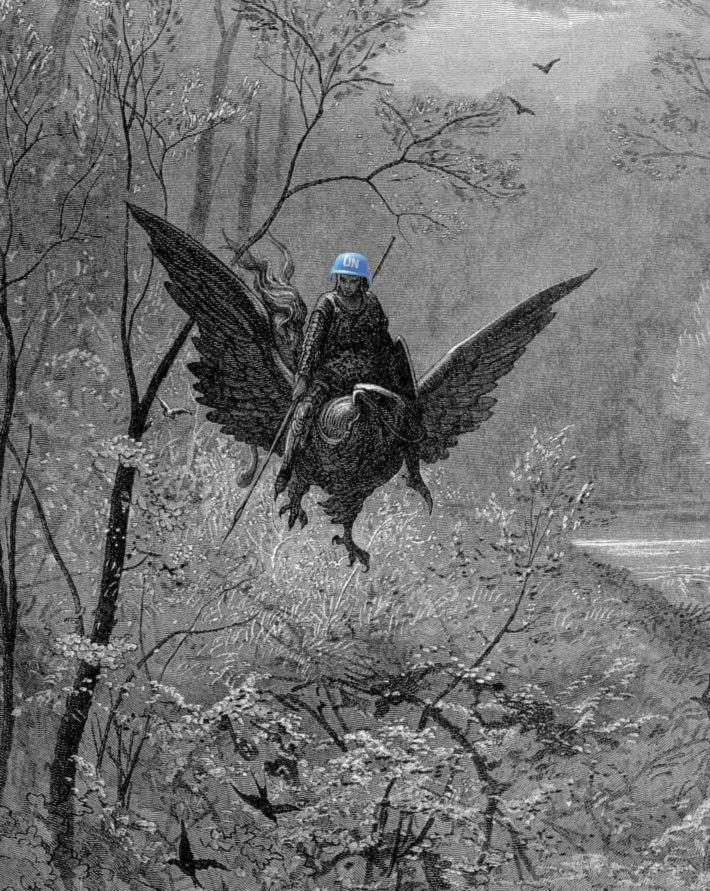 Early feasibility study with big bird instead of dragon by Gustave Doré (1877)