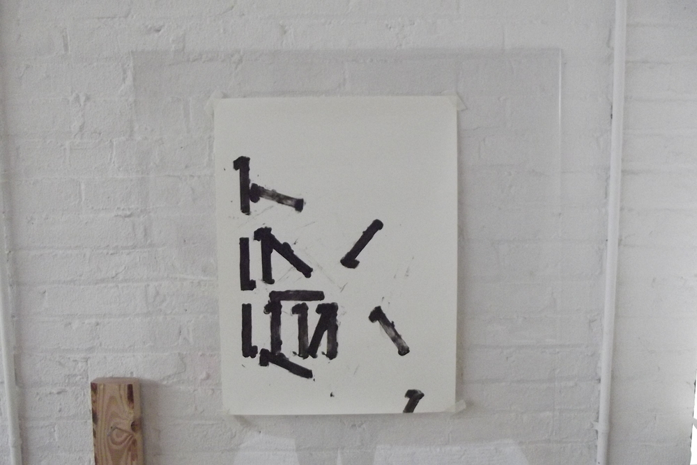 """Number Series:  #1  24"""" x 36"""", acrylic on paper mounted on arylic."""