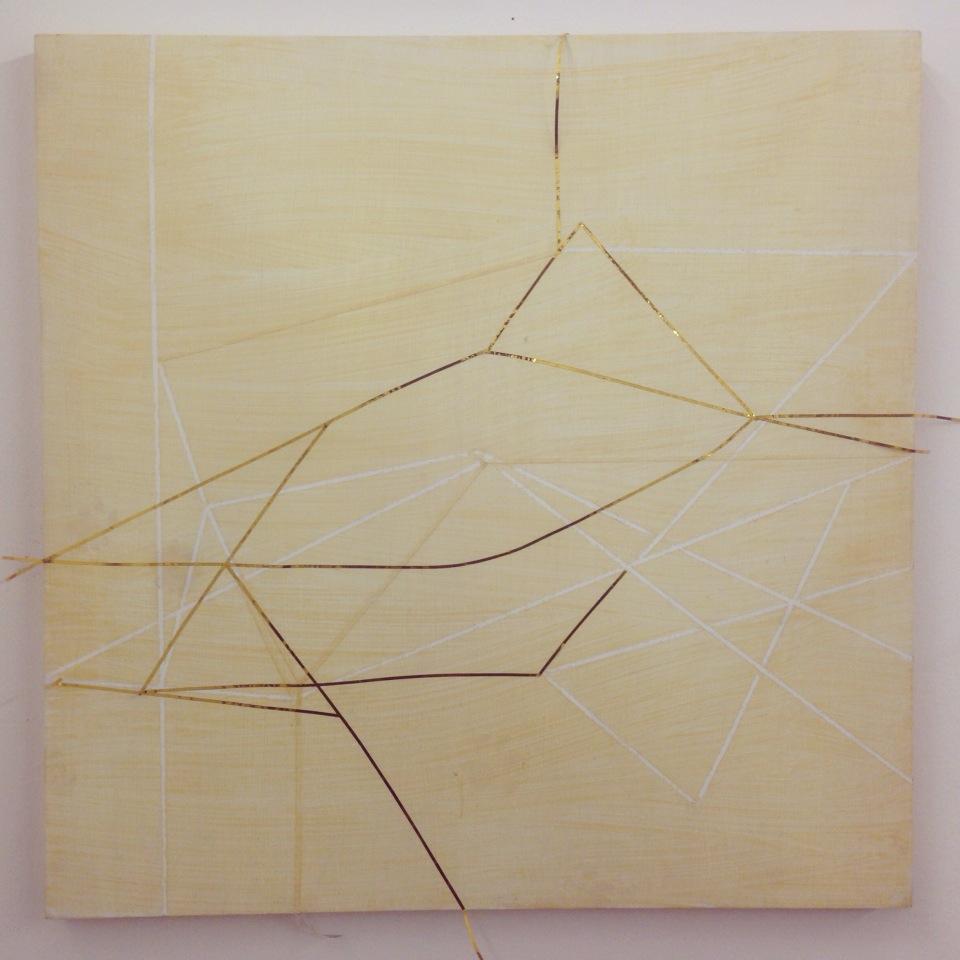"Subliminal Landscape  14"" x 14"", gesso board, mylar tape, tape, oil, gel medium"