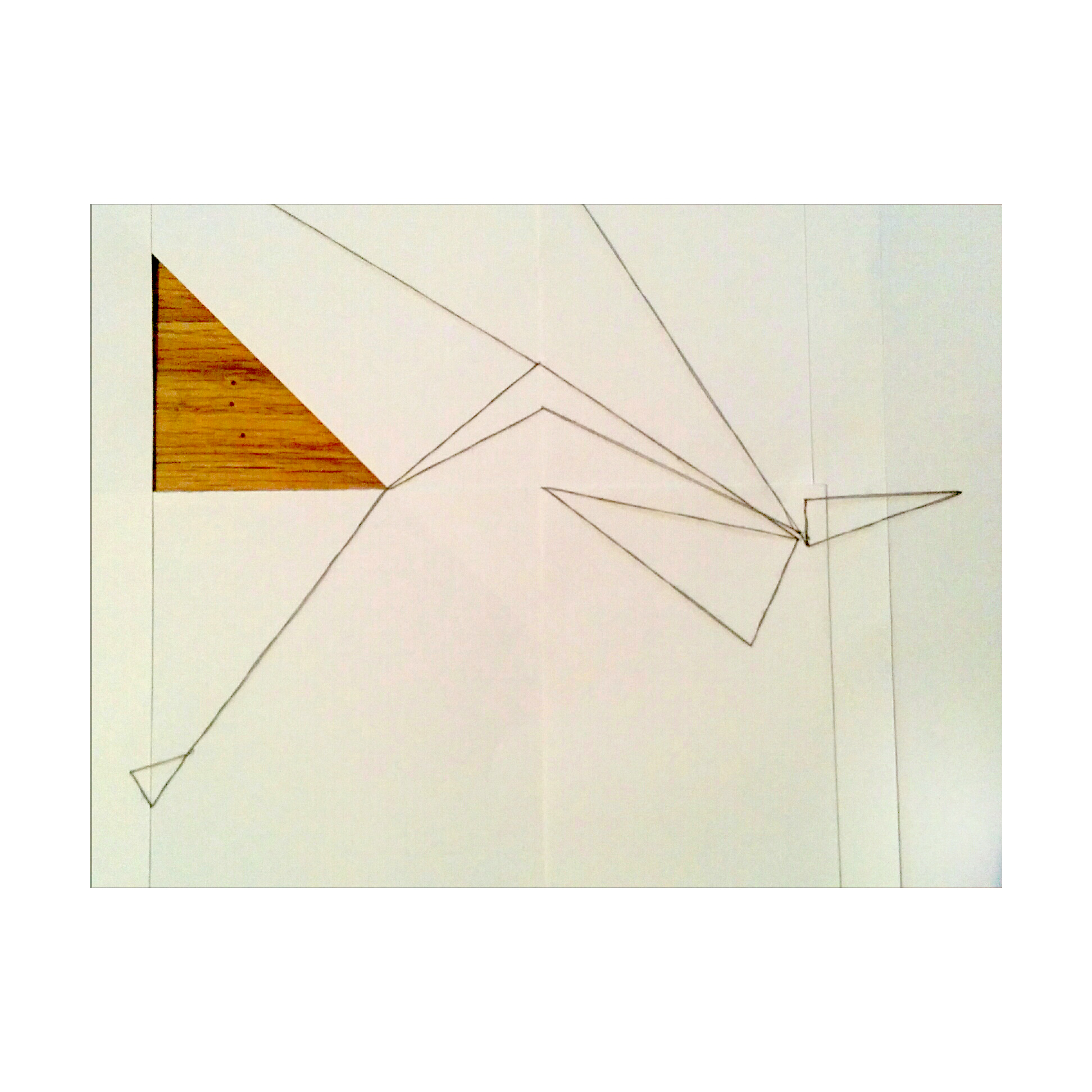 """Triangle Illusion  10"""" x 12.5"""", thread, paper, and wood."""