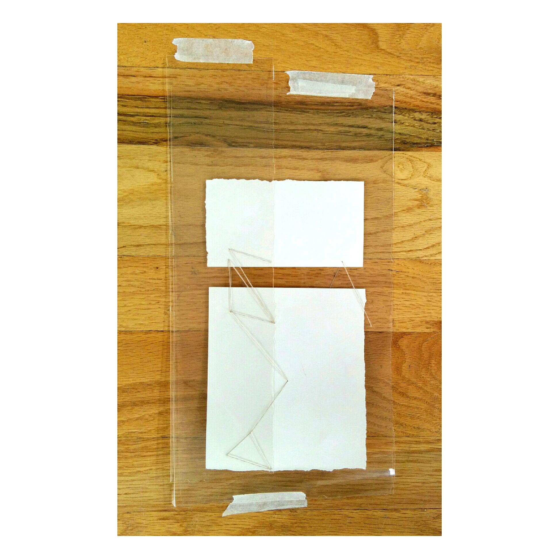 "Building Blocks  14"" x 5.5 "", acetate, paper, tape, and thread"